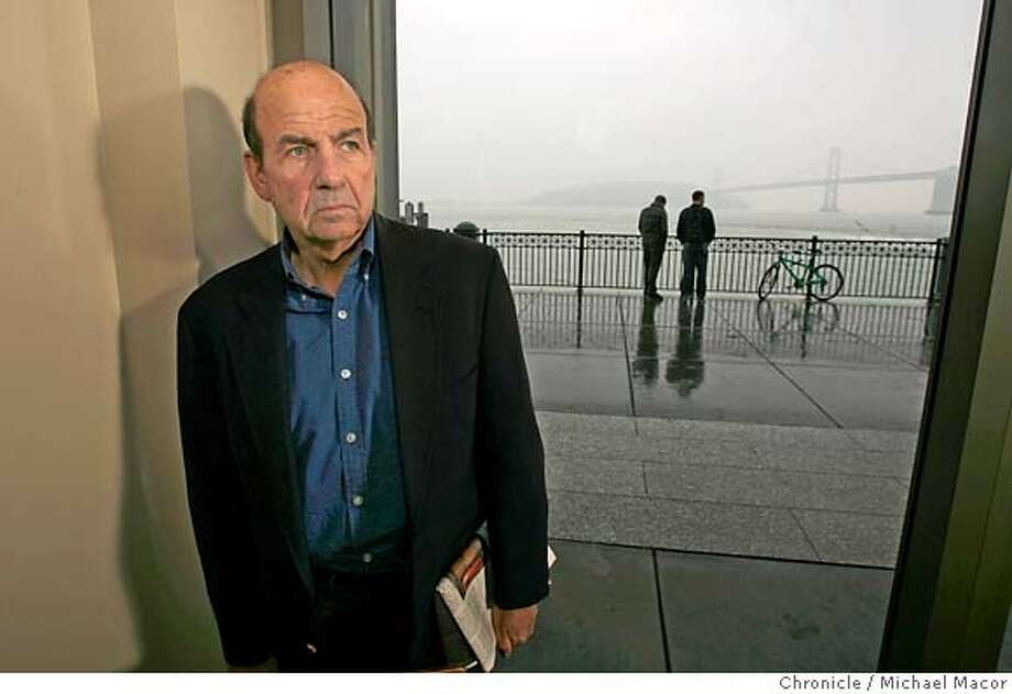 """trillin11_015_mac.jpg Author Calvin Trillin, his new book, """"About Alice,"""" about his beloved late wife -- their relationship set a standard many aspire to... Photographed in, San Francisco, Ca, on 1/26/07. Photo by: Michael Macor/ San Francisco Chronicle Ran on: 02-11-2007  Calvin Trillin, shown at the Ferry Building, left, has a new best-seller, &quo;About Alice,&quo; remembering his late wife. Right, Alice and Calvin leaving the London registry office where they were married in 1965. Photo: Michael Macor"""