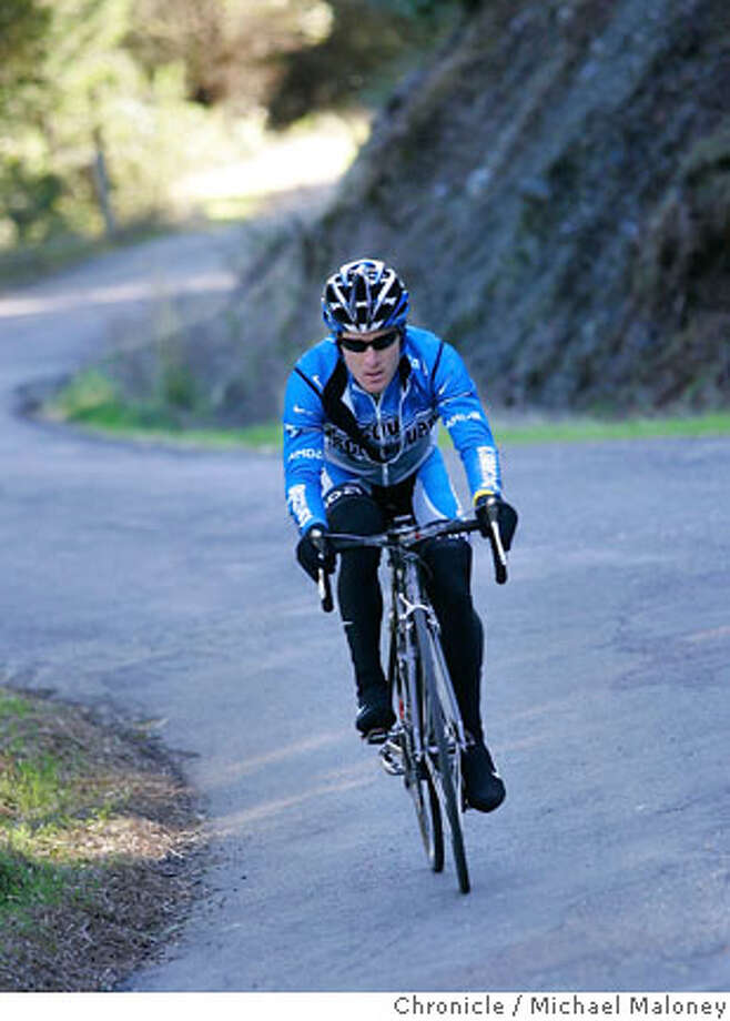 Levi Leipheimer does intervals up Ida Clayton Road near his home. He chose Santa Rosa for his home because of the many challenging roads in the area.  Levi Leipheimer is a pro cyclist riding this year for the Discovery Channel Pro Cycling Team. He lives with his wife Odessa, and over a dozen cats and dogs in a home in the hills above Santa Rosa. He is currently training for his next big race in February, the 2007 Amgen Tour of California. In 2006, Leipheimer was one of the favorites to win the Amgen Tour of California. He won the 1st day's time trial prologue up San Francisco's Coit Tower and won the overall race competition for best climber. Photo taken on 12/19/06 by Michael Maloney / San Francisco Chronicle MANDATORY CREDIT FOR PHOTOG AND SF CHRONICLE/ -MAGS OUT Photo: Michael Maloney