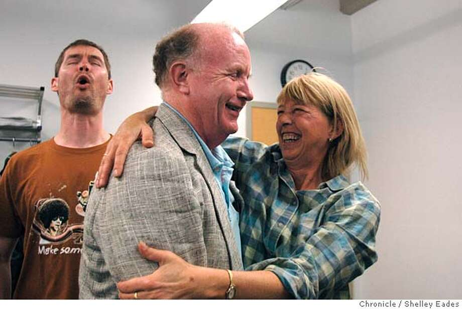 On 7/30/05 in San Francisco Denise Schultz, right, who's been attending Jim Cranna's Improv Comedy class since 1977, gives Cranna a big hug before he begins his final class at Fort Mason after teaching it every Saturday for 30 years. . Chronicle Photo by Shelley Eades Photo: Shelley Eades