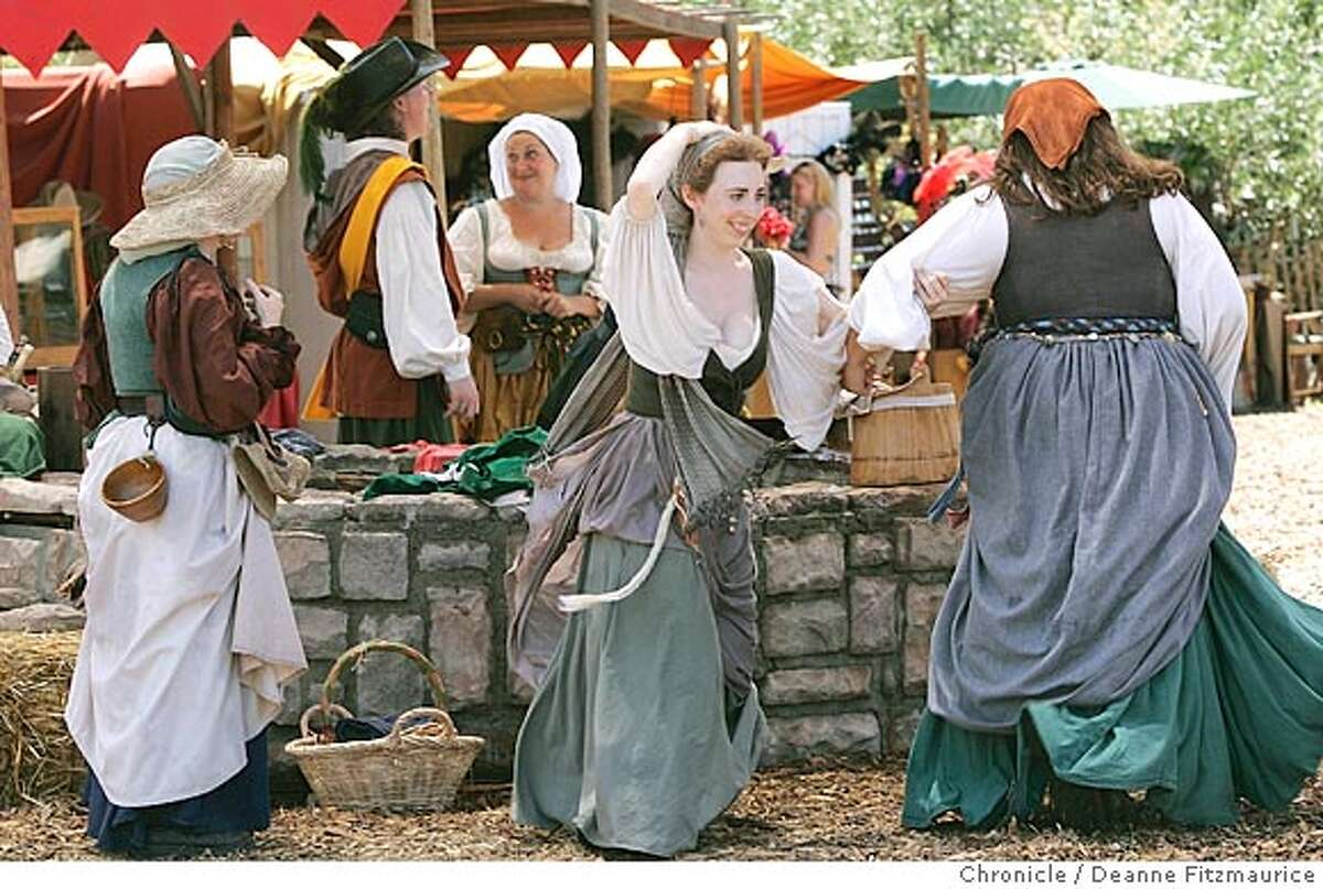 Two of the Washerwomen break out into dance. The Heart of the Forest Renaissance Faire is in full swing at Stafford Lake in Novato. Many of the attendees dress in costumes from the Elizabethan era. San Francisco Chronicle/ Deanne Fitzmaurice