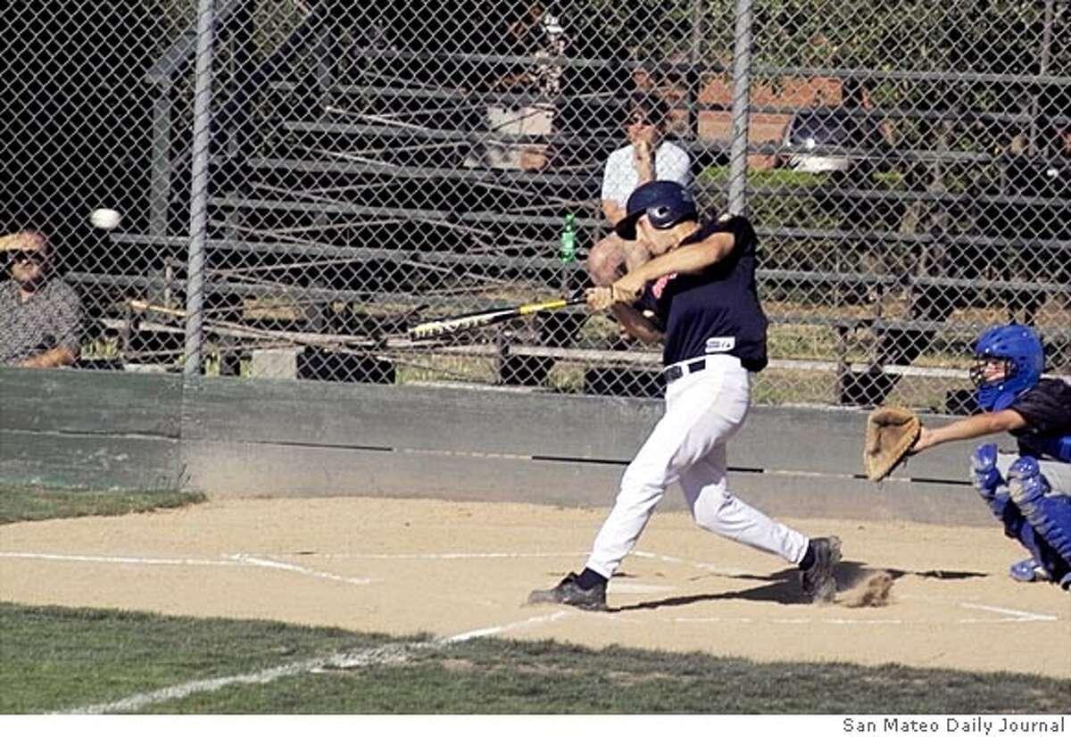 Jon (cq) Ponzo, outfielder for San Mateo Post 82. For story slugged . PHOTO CREDIT: San Mateo Daily Journal.