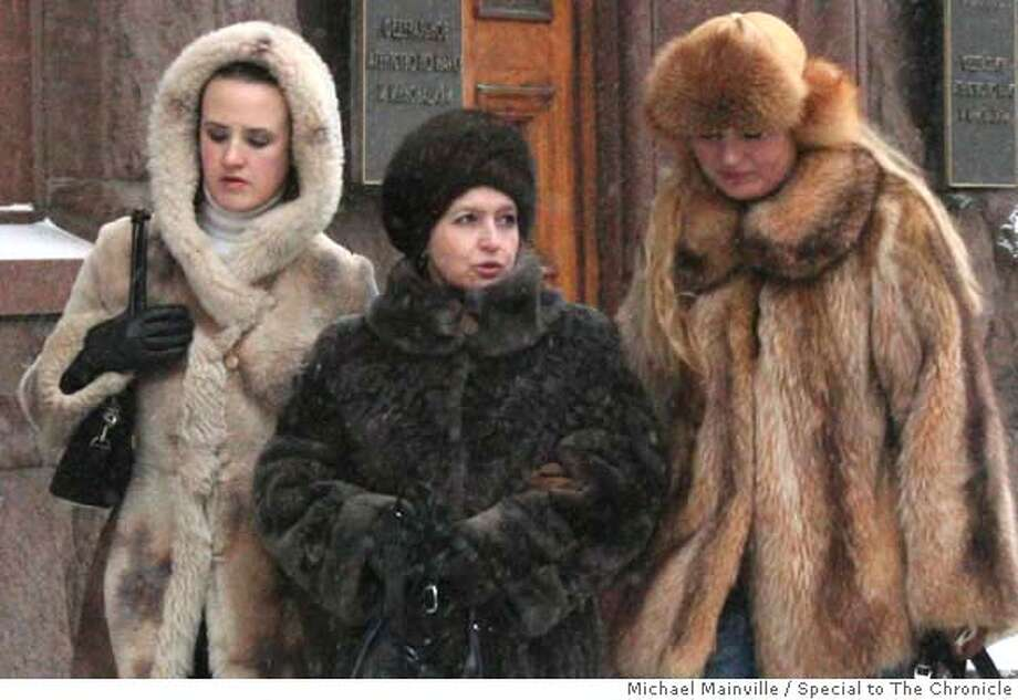 Women dressed in furs are among the pedestrians on the streets of Moscow, Russia, Feb. 9, 2007. Michael Mainville/Special to The Chronicle. Photo: Michael Mainville