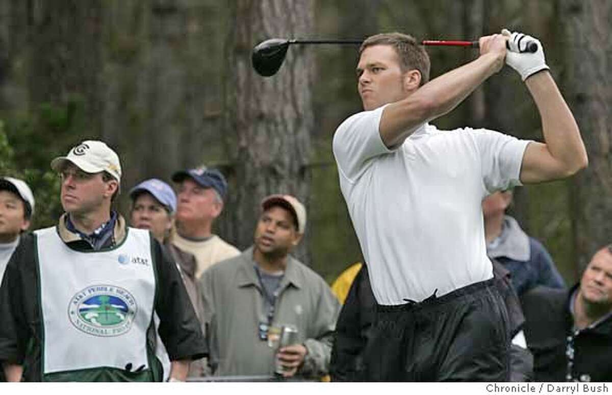 AT&Tgolf_0009_db.JPG Football player Tom Brady hits a tee shot from the 9th hole tee during the 2nd round, at the 2007 AT&T Pebble Beach National Pro-Am at Poppy Hills Golf Course in Pebble Beach, CA, on Friday, February, 9, 2007. photo taken: 2/9/07 Darryl Bush / The Chronicle ** (cq) MANDATORY CREDIT FOR PHOTOG AND SF CHRONICLE/ -MAGS OUT