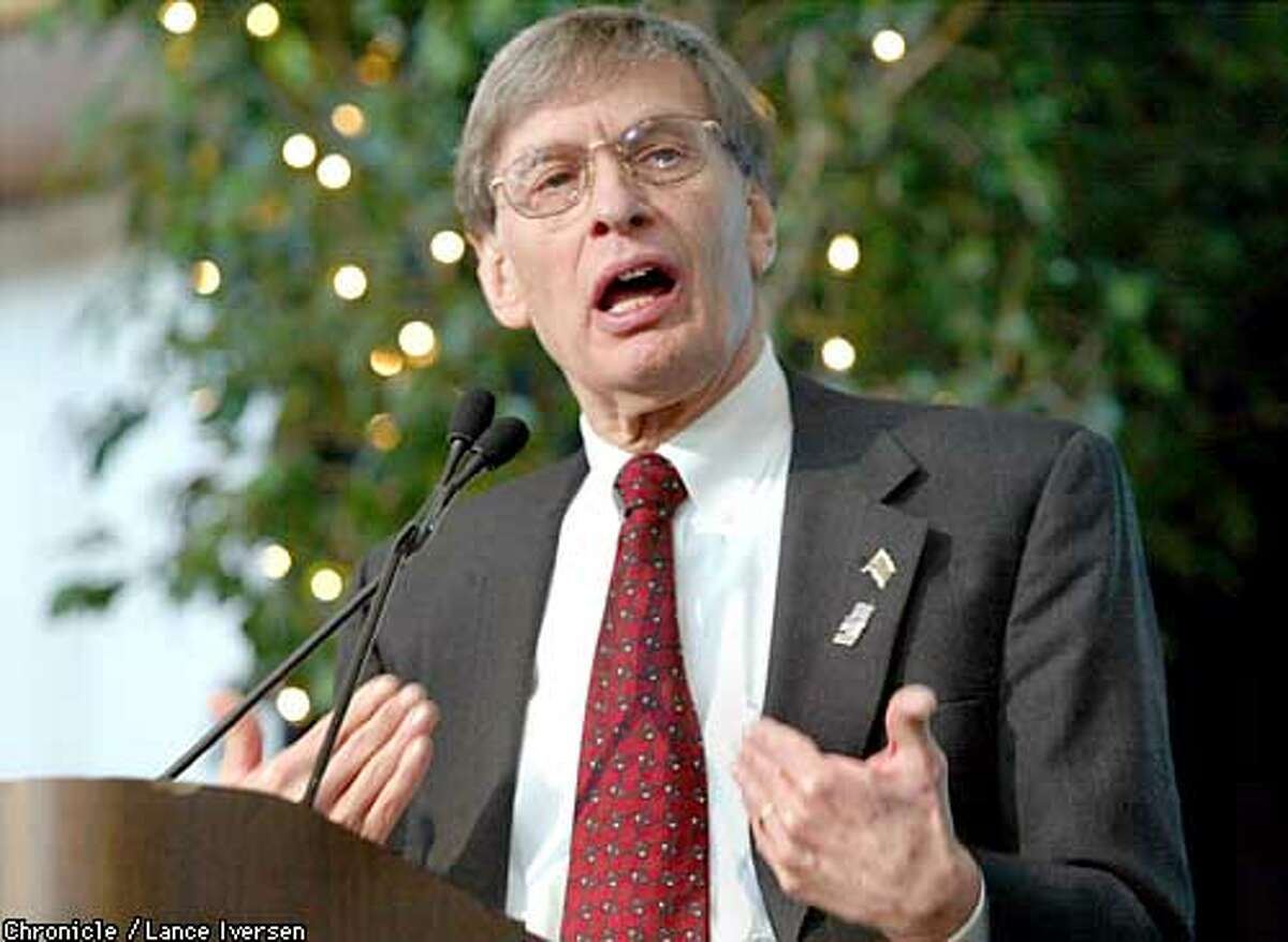 baseball commissioner Bud Selig takes questions from the media during the 13th annual Fox Sports Net Baseball lunchion thursday. By LANCE IVERSEN/SAN FRANCISCO CHRONICLE