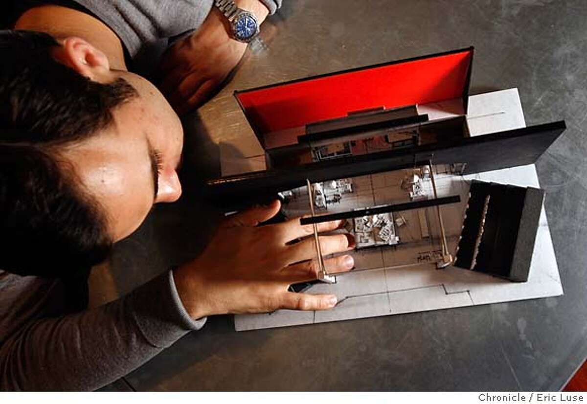 .JPG Erik Flatmo stage designer, at CAV Winebar where he likes to have his initial concept meeting over a glass of vino. He is with a model of Luminescence Dating by Carey Perloff, Artistic Director of ACT in a co-production with Majic Theater Original Play. Photographer: Eric Luse / The Chronicle names cq from source MANDATORY CREDIT FOR PHOTOG AND SF CHRONICLE/ -MAGS OUT