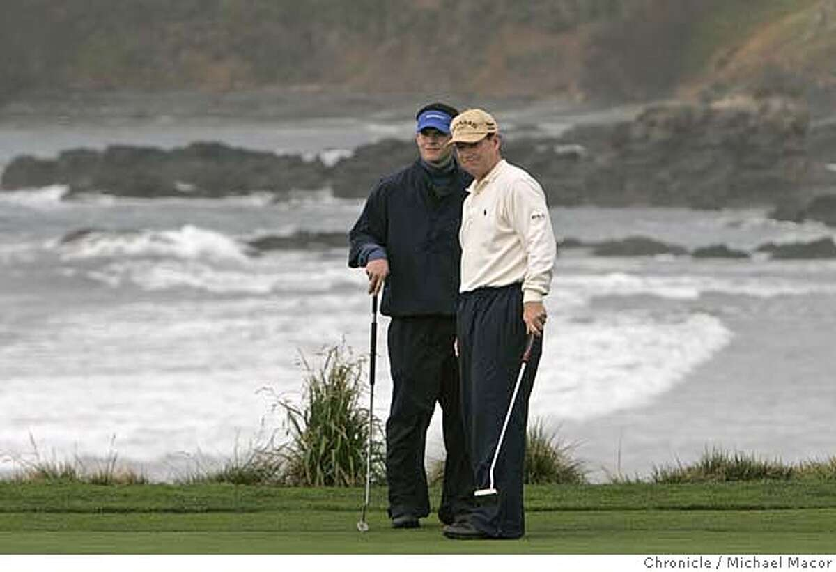 """AT&T2_486_mac.jpg """"Team Watson"""", father and son Michael and Tom are in contention at 17 under par for the tournament. Round 2 of the AT&T Pebble Beach National Pro Am Photographed in, Monterey, Ca, on 2/9/07. Photo by: Michael Macor/ San Francisco Chronicle Mandatory credit for Photographer and San Francisco Chronicle / Magazines Out"""