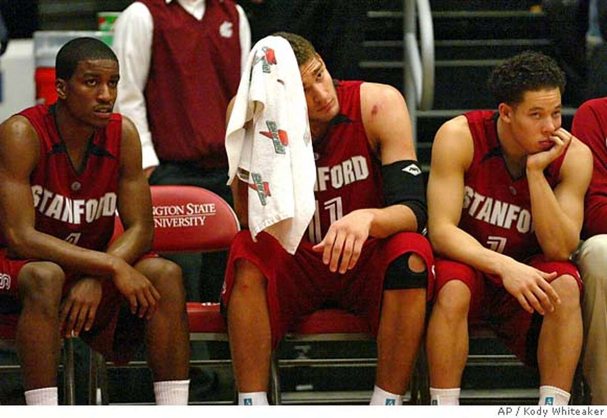 Stanford guard Anthony Goods, left, forward Brook Lopez, and guard Mitch Johnson look on as the final seconds tick down in the second half on Thursday, Feb. 8, 2007, in a college basketball game against Washington State in Pullman, Wash. Washington State won the game, 45-58.(AP Photo/Kody Whiteaker)