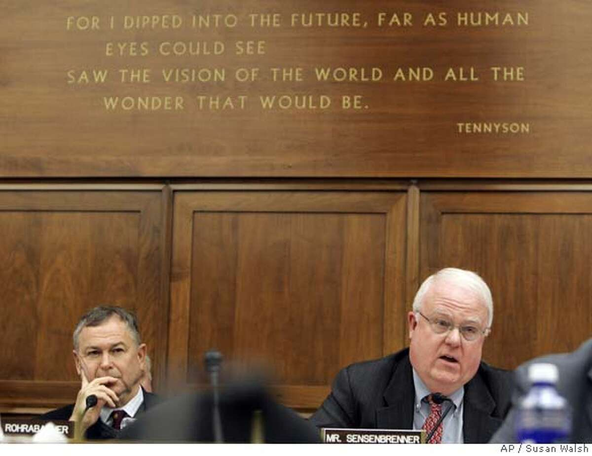 House Science and Technology Committee member Rep. James Sensenbrenner, R-Wis., right, questions the rules of the committee on Capitol Hill in Washington, Thursday, Feb. 8, 2007 during a hearing on global warming. Fellow committee member Rep. Dana Rohrabacher, R-Calif., is at left. (AP Photo/Susan Walsh)