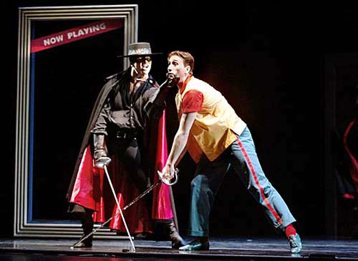 Shannon Hurlburt as Emilio is played with by the superior swordsplay of Rodolphe Cassand as Zorro during a final dress rehearsal before the world premier of Zorro by the Smuin Ballet at the Yerba Buena Center for the Performing Arts. Zorro stars Rodolphe Cassand as Zorro, Easton Smith as Captain Monastario/Theater Owner, Shannon Hurlburt as Emilio and Claudia Alfieri as Rosa/Ticket Seller. CHRIS STEWART / THE CHRONICLE