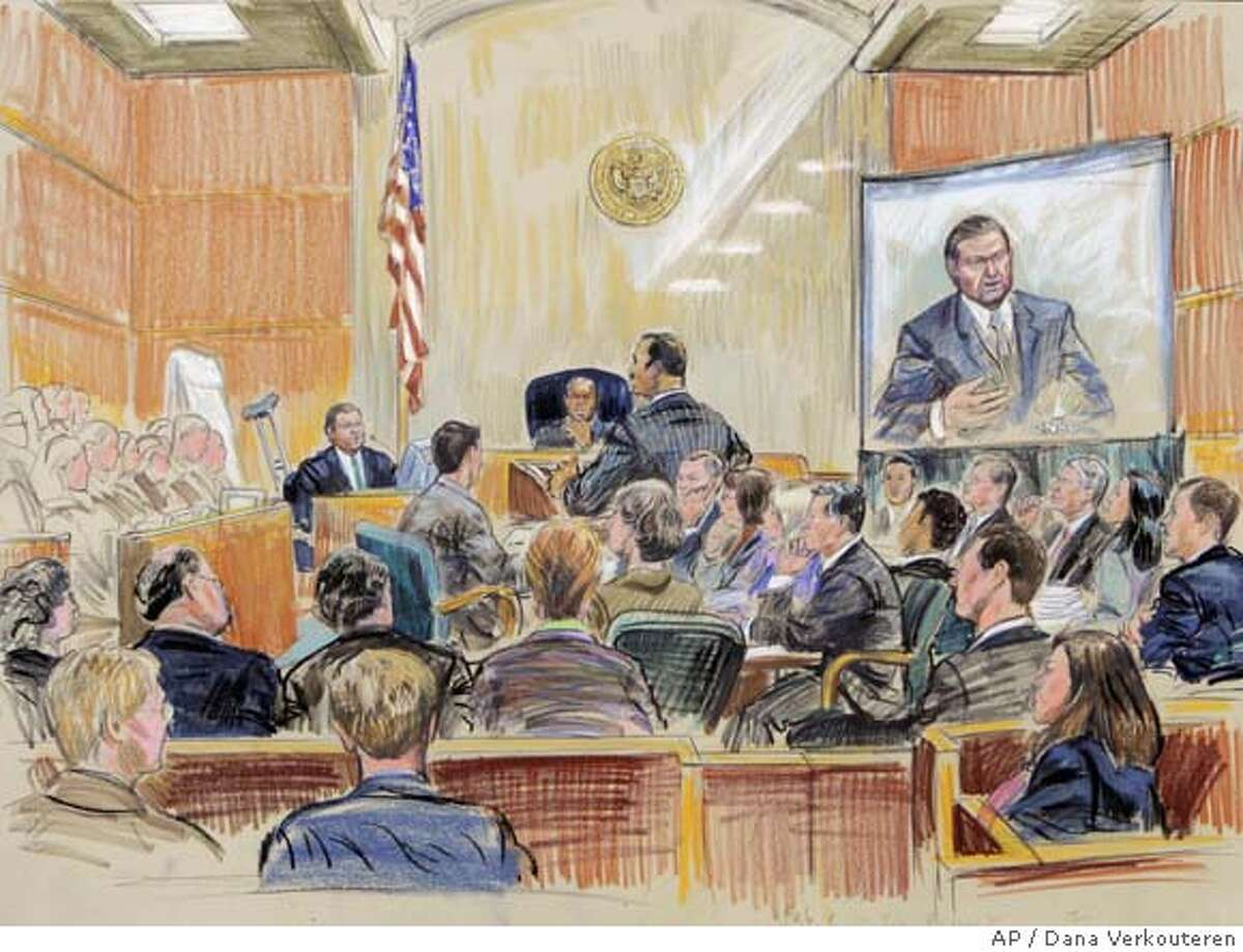 This artists rendering shows Tim Russert, Washington bureau chief of NBC News, testifying in the perjury trial of I. Lewis 'Scooter' Libby at federal court in Washington, Thursday, Feb. 8, 2007. (AP Photo/Dana Verkouteren) ARTIST RENDERING
