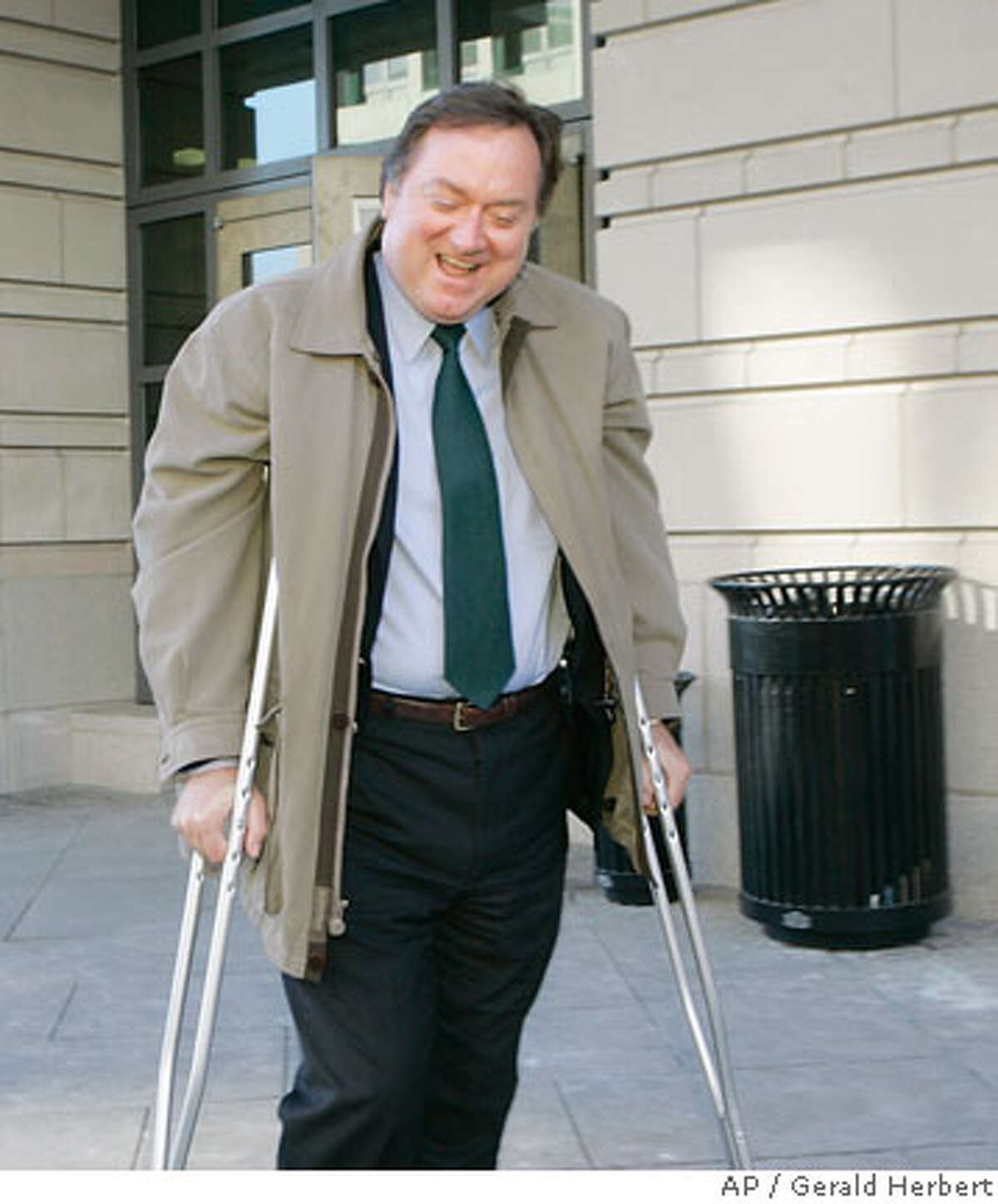 Tim Russert, Washington bureau chief of NBC News, leaves U.S. Federal Court in Washington, Thursday, Feb. 8, 2007, after testifying in the perjury trial of I. Lewis 'Scooter' Libby. (AP Photo/Gerald Herbert)