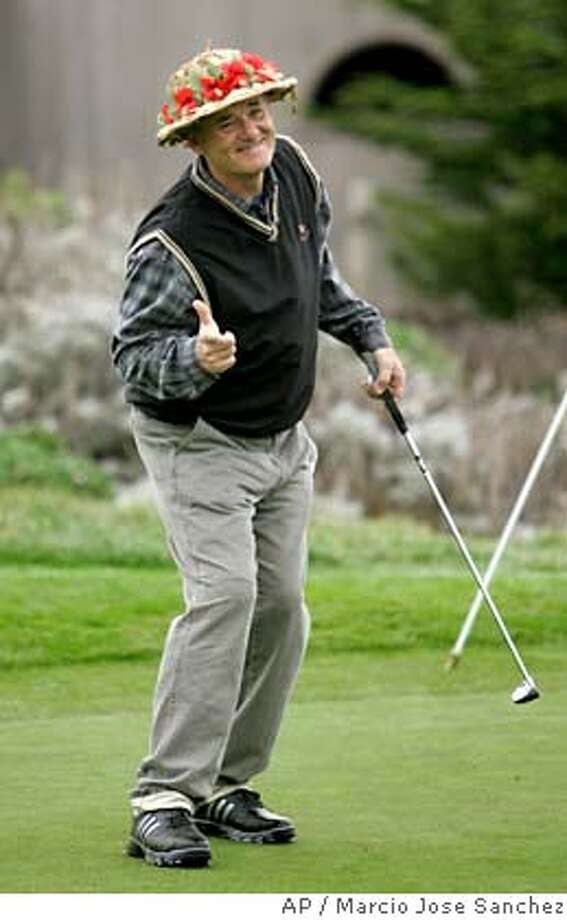 Actor Bill Murray jokes with the gallery on the fourth hole during the first round of Pebble Beach National Pro Am at the Spyglass Hill golf course in Pebble Beach, Calif., Thursday, Feb. 8, 2007.(AP Photo/Marcio Jose Sanchez) Photo: Marcio Jose Sanchez