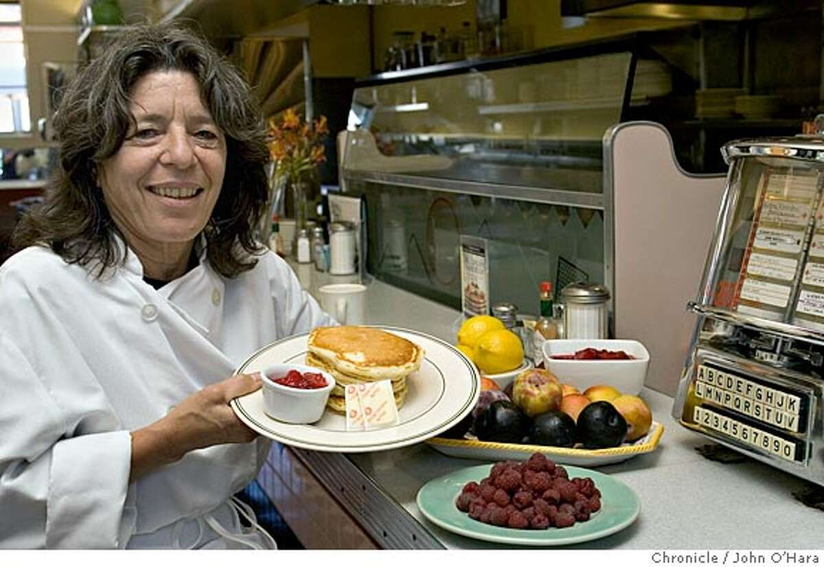 Bette's Ocean View Diner 1807a Fourth St. This Seasonal Cook focuses on the summer fruit breakfast dishes and desserts served at Bette's Ocean View Diner in Berkeley. Specifically, chef/owner Bette Kroening will make lemon-ricotta pancakes with plum-raspberry compote for us. Please get a shot of Bette preparing the food and a shot of a finished plate. Photo/ John O'Hara