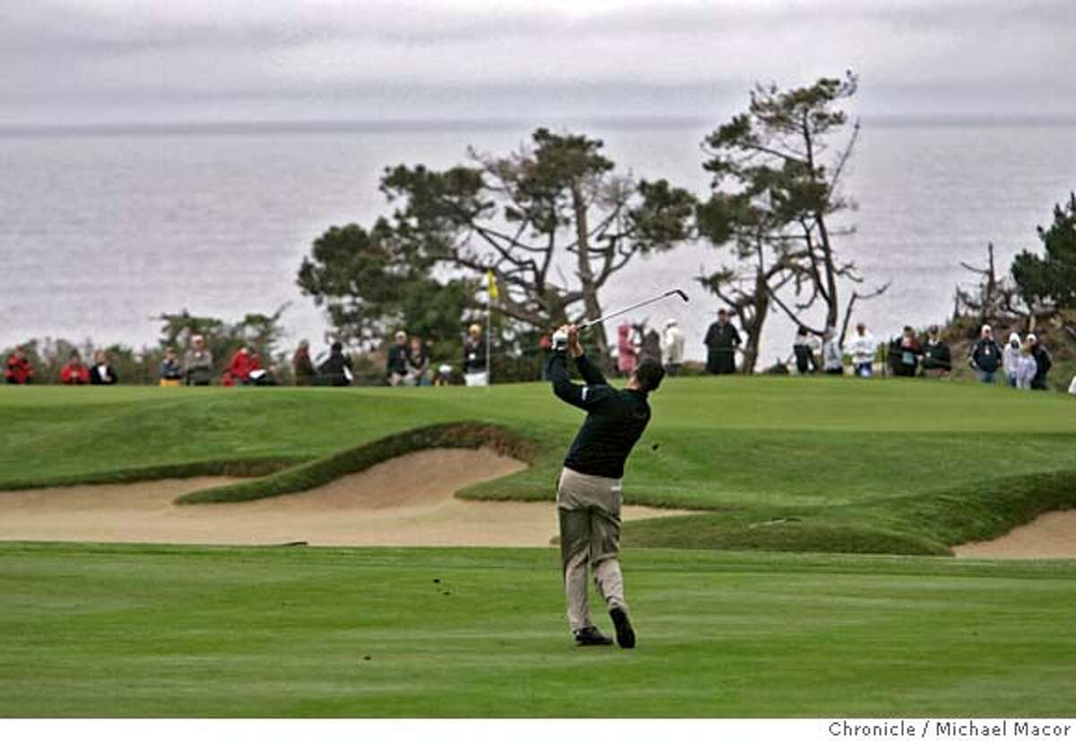 AT&T_011_mac.jpg Jim Furyk with his third shot to #1 at Spyglass Hill. He birdied the hole and finished the day at 5 under. Round 1 of the AT&T Pebble Beach National Pro Am Photographed in, Monterey, Ca, on 2/8/07. Photo by: Michael Macor/ San Francisco Chronicle Mandatory credit for Photographer and San Francisco Chronicle / Magazines Out