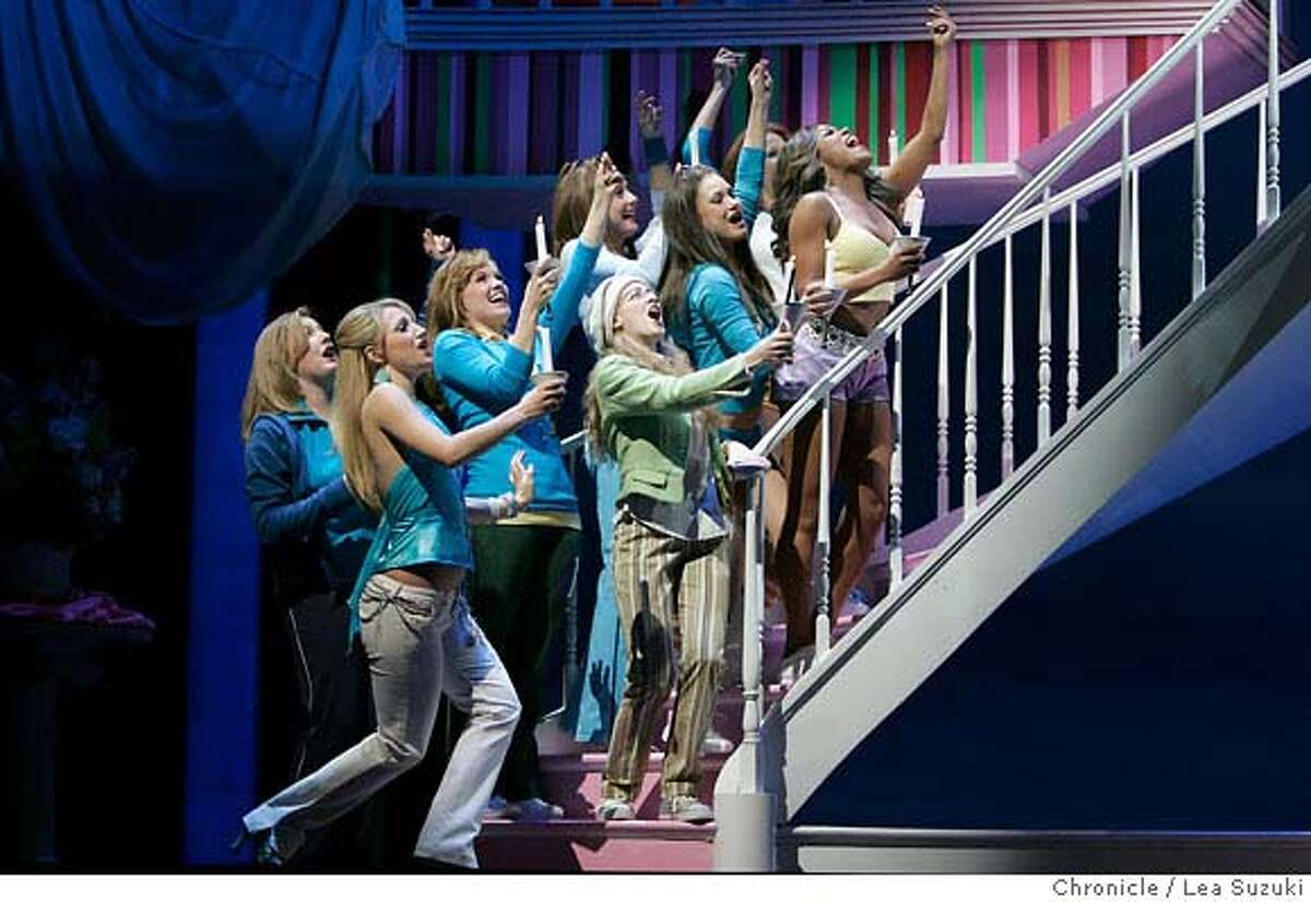blonde08_017ls.jpg The cast in a musical number in opening scene for Act 1. Dress rehearsal for Broadway-bound musical