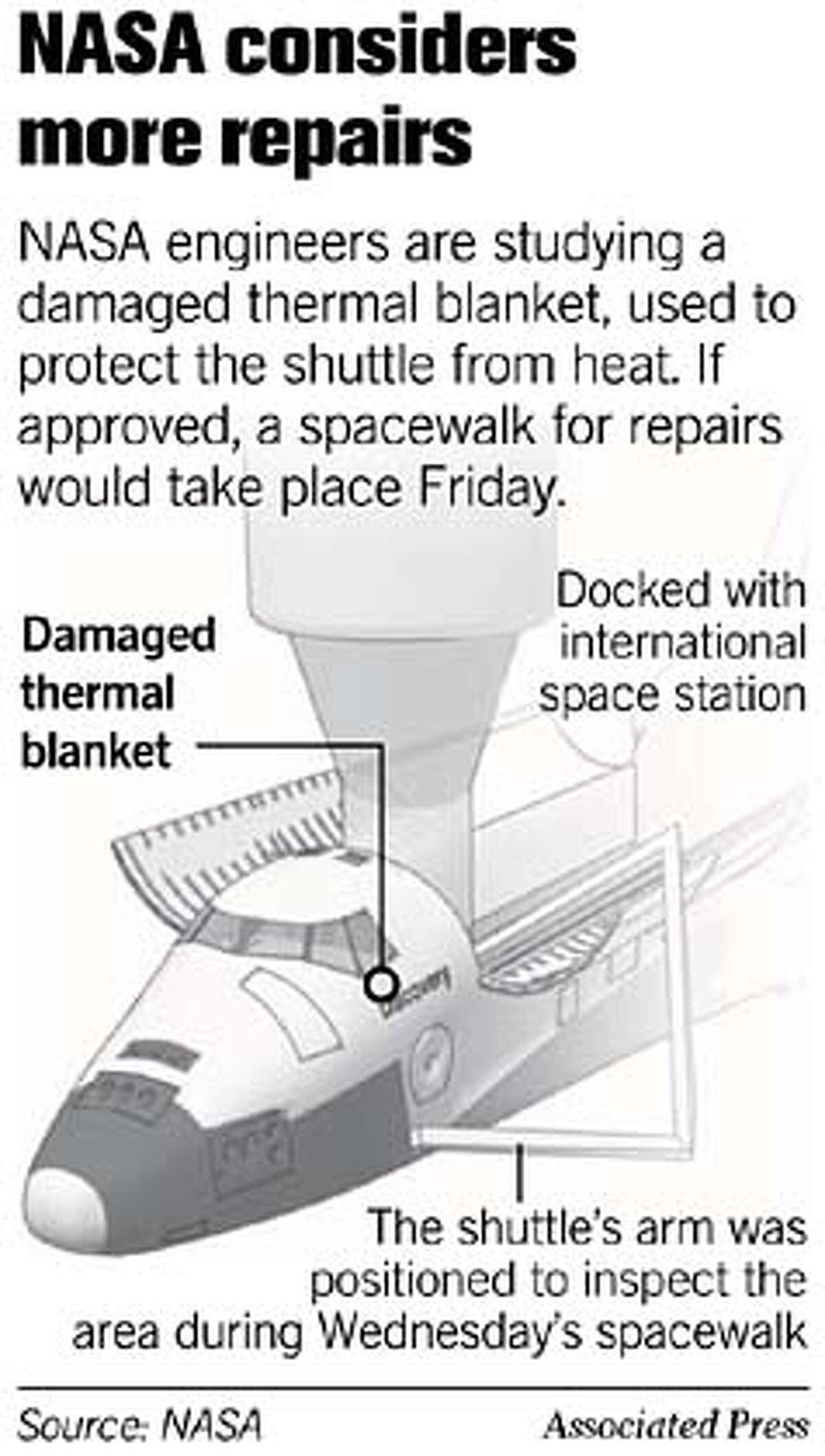 NASA considers more repairs. Associated Press Graphic