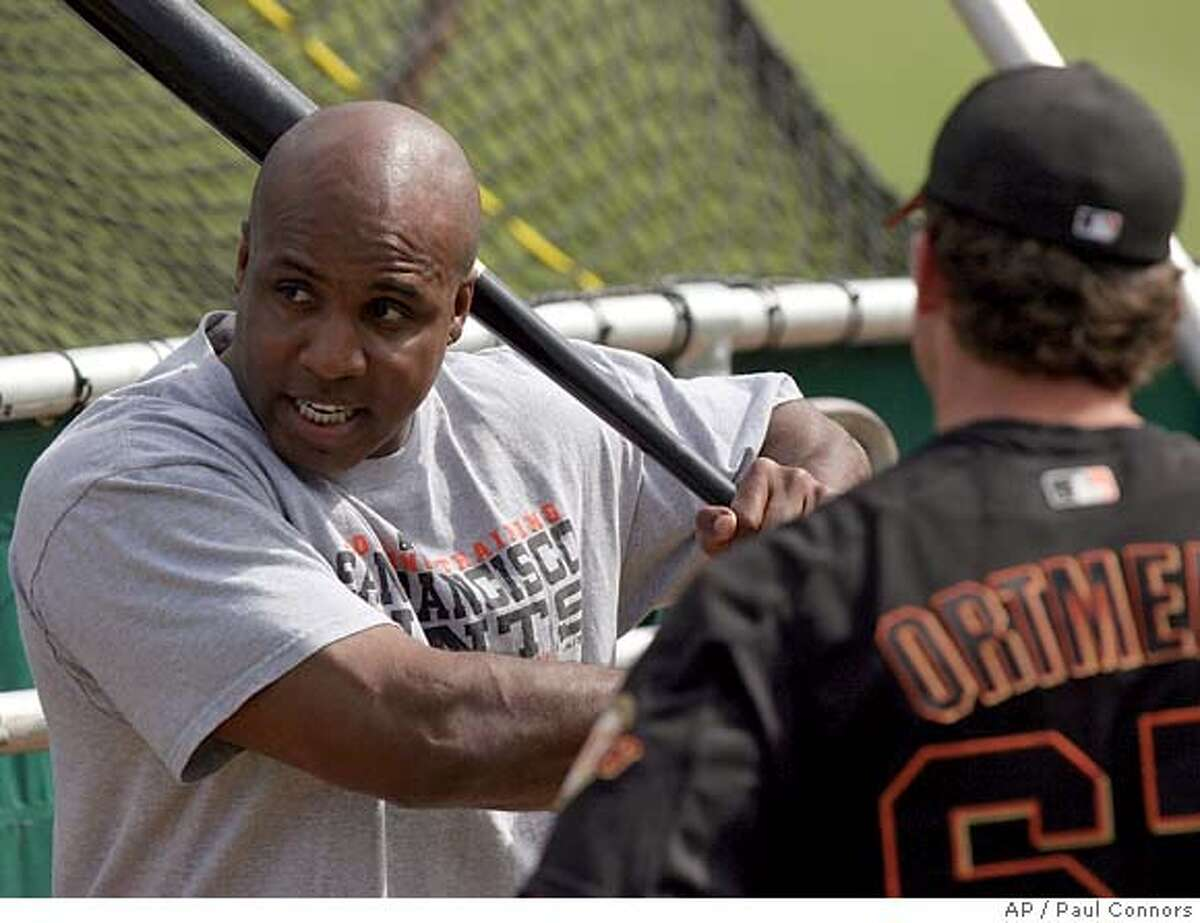San Francisco Giants slugger Barry Bonds, left, gives batting instructions to teammate Daniel Ortmeier, right, following a team workout Thursday, March 3, 2005, at the Giants' spring training facility in Scottsdale, Ariz.(AP Photo/Paul Connors) Ran on: 03-11-2005 Barry Bonds will have his daily comings and goings this season reported on by ESPNs Pedro Gomez. Ran on: 03-11-2005 Barry Bonds will have his daily comings and goings this season reported on by ESPNs Pedro Gomez. Ran on: 03-11-2005 Ran on: 03-11-2005 Barry Bonds will have his daily comings and goings this season reported on by ESPNs Pedro Gomez.