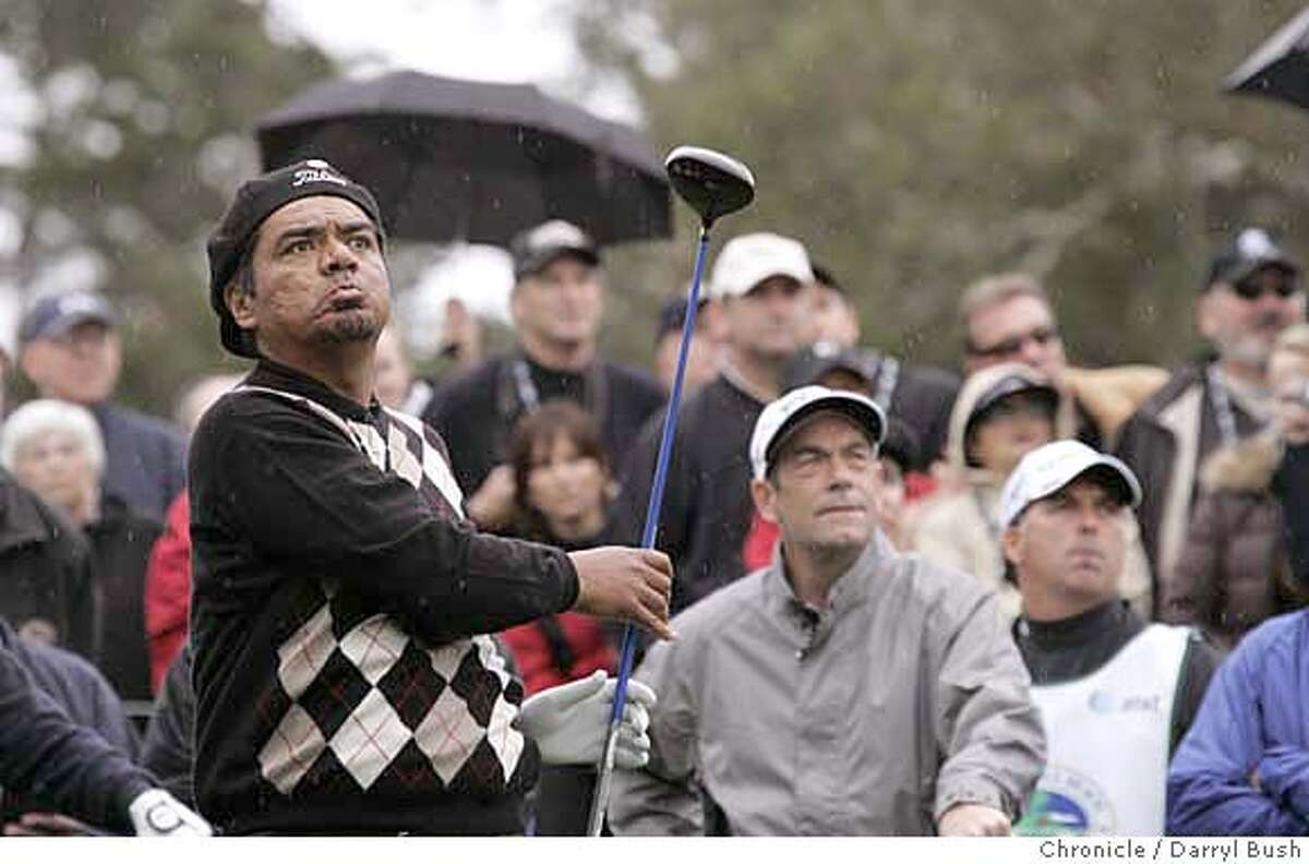 AT&Tgolf_0004_db.JPG Actor George Lopez isn't happy with his tee shot on the 2nd hole, during the 2007 3M Celebrity Challenge held Wednesday during practice rounds, at the 2007 AT&T Pebble Beach National Pro-Am at Pebble Beach Golf Links in Pebble Beach, CA, on Wednesday, February, 7, 2007. photo taken: 2/7/07 Darryl Bush / The Chronicle ** (cq) MANDATORY CREDIT FOR PHOTOG AND SF CHRONICLE/ -MAGS OUT