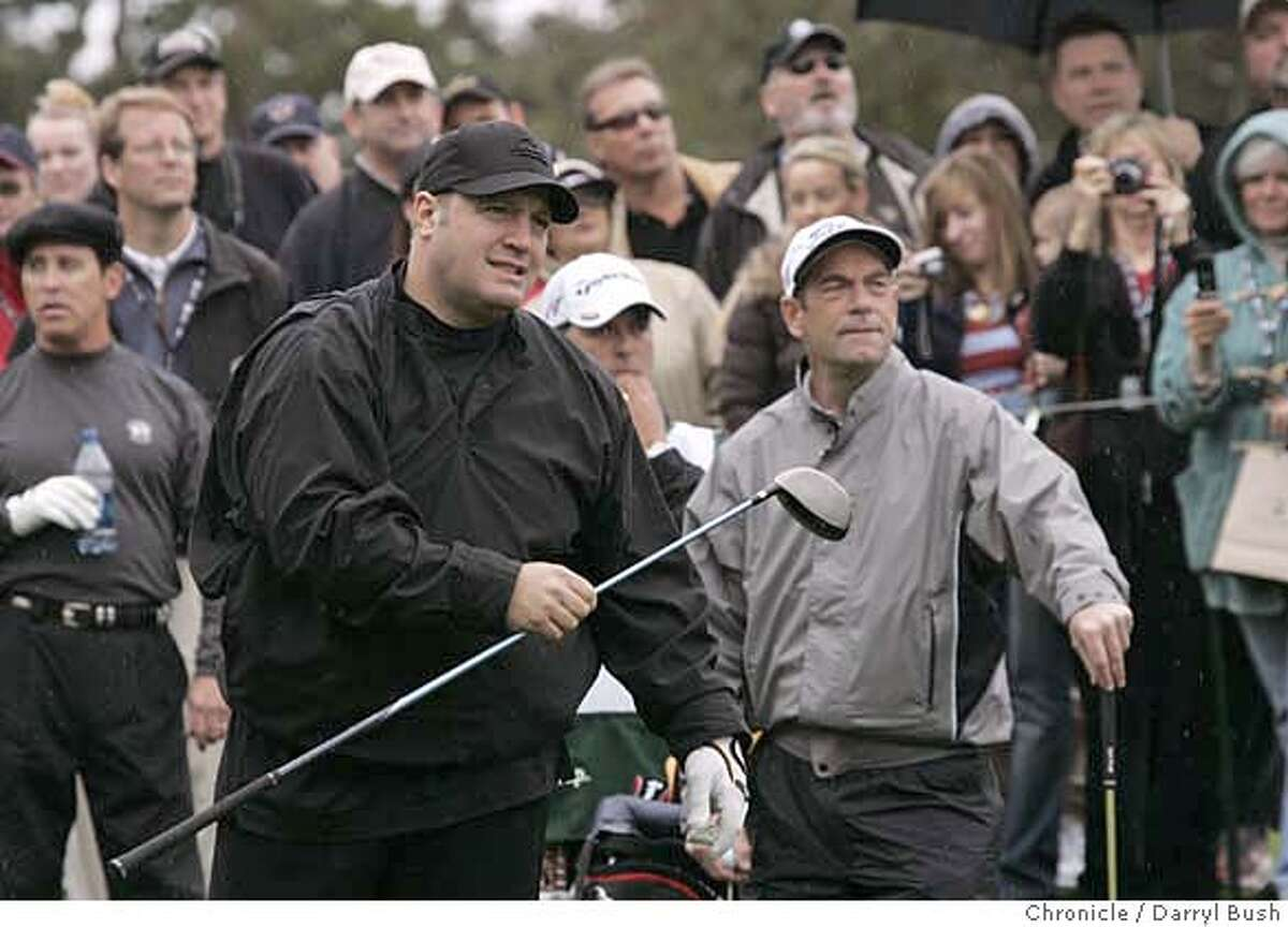 Actor Kevin James watches his tee shot with Musician Huey Lewis in the background on the 2nd hole, during the 2007 3M Celebrity Challenge held Wednesday during practice rounds, at the 2007 AT&T Pebble Beach National Pro-Am at Pebble Beach Golf Links in Pebble Beach, CA, on Wednesday, February, 7, 2007. photo taken: 2/7/07 Darryl Bush / The Chronicle ** (cq)