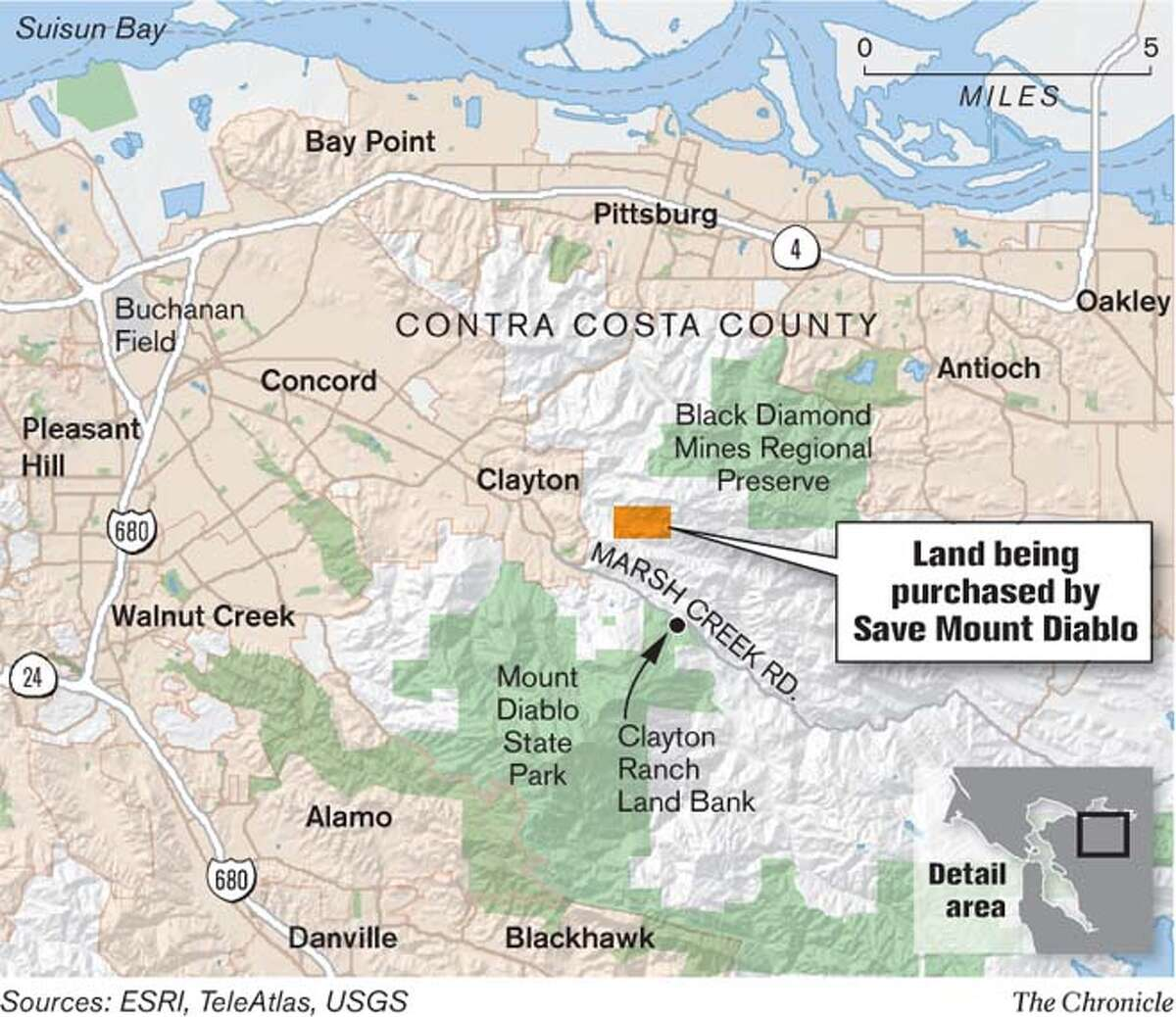 Land Being Purchased By Save Mt. Diablo. Chronicle Graphic