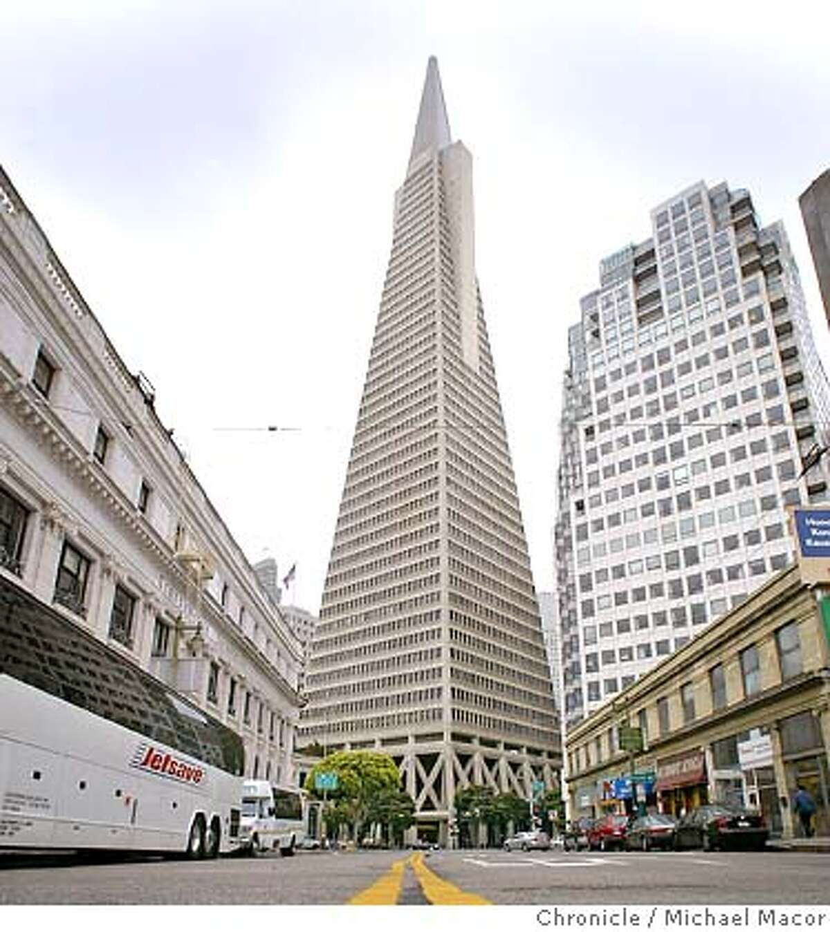 A view from the middle of Columbus St. The Transamerica Pyramid, a San Francisco icon. event on 5/26/04 in San Francisco Michael Macor / San Francisco Chronicle