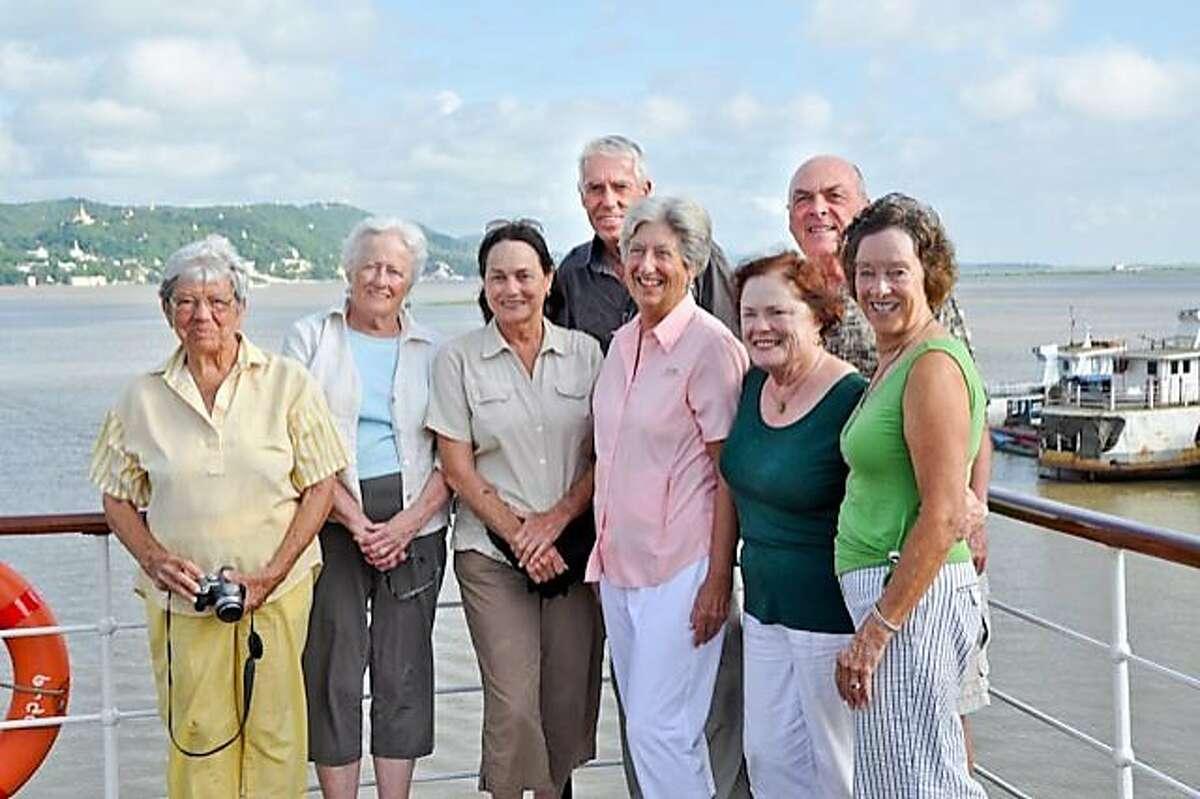 Persis Sturgis, Mardi Worley, Jane Wanderer, Ed Hoiland, Sally Clifford, Caroline Aldrich-Langen, Ralph and Marilee Meuter at Mandalay Bay, Myanmar.
