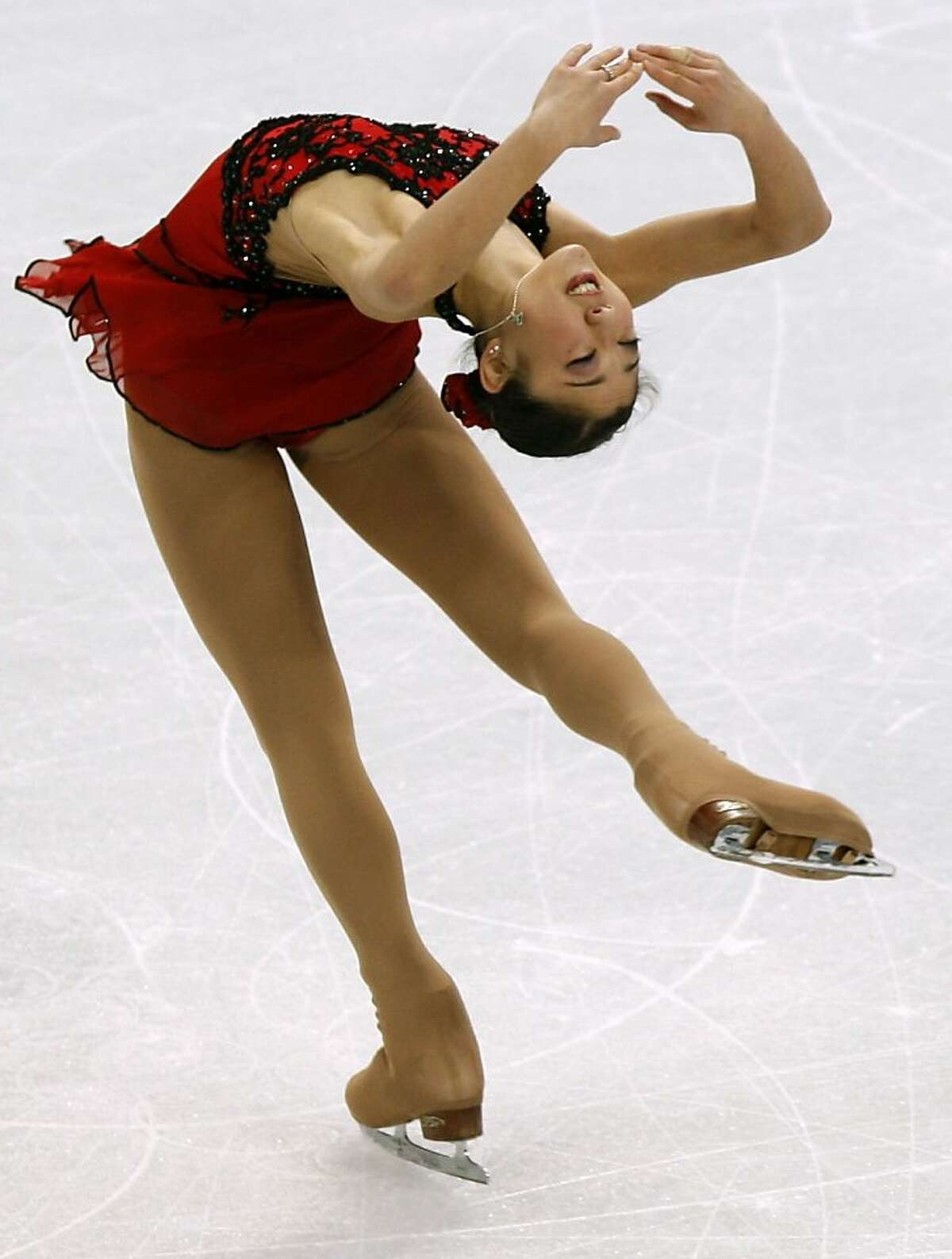 Mirai Nagasu of the United States performs in the free program of the women's figure skating competition at the Winter Olympic Games in Vancouver, British Columbia, on Thursday, Feb. 25, 2010. Paul Chinn/Chronicle Olympic Bureau