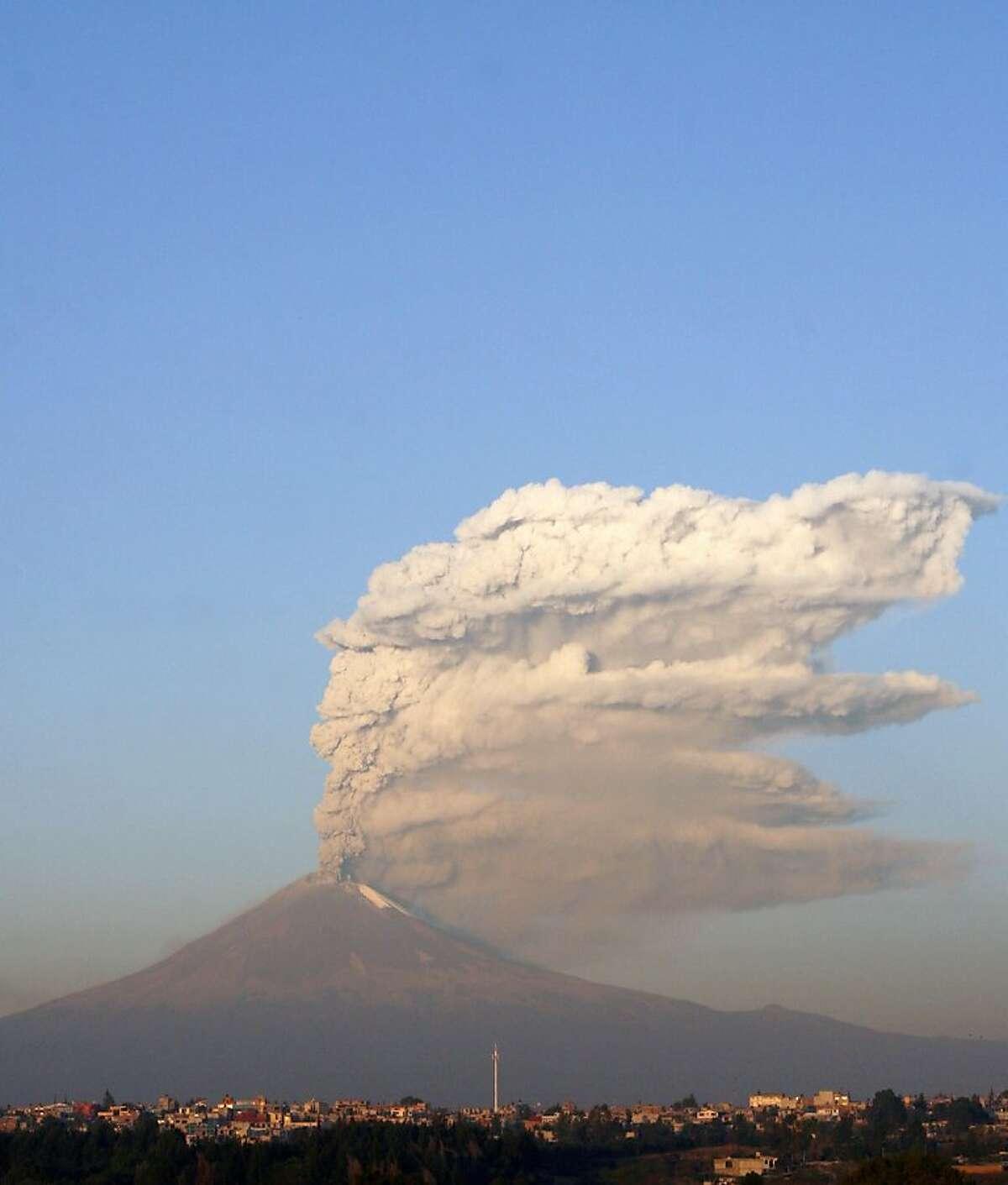 View of the Popocatepetl volcano, near Puebla, Mexico.