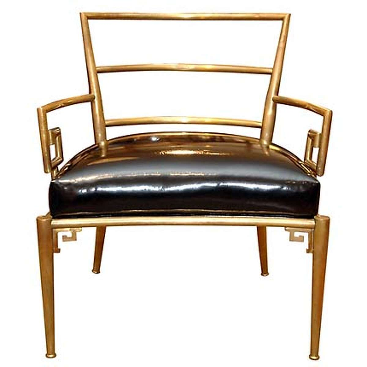 Neoclassical Italian armchair from the 1950s in brass, $3,800