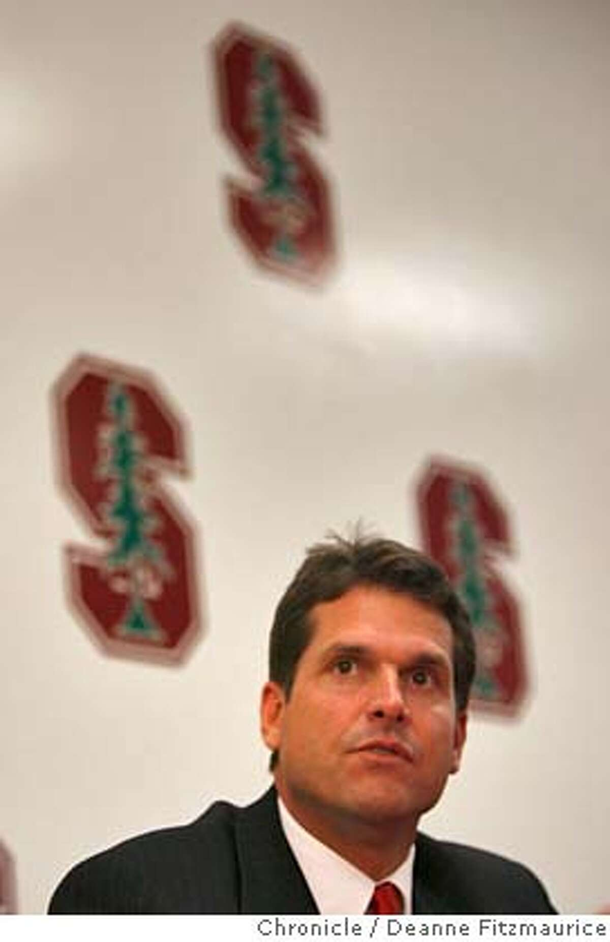 stanfordfootball_0082_df.jpg Jim Harbaugh is introduced at a press conference as head coach for Stanford football. Photographed in Palo Alto on 12/19/06. (Deanne Fitzmaurice/ The Chronicle) Mandatory credit for photographer and San Francisco Chronicle. /Magazines out.
