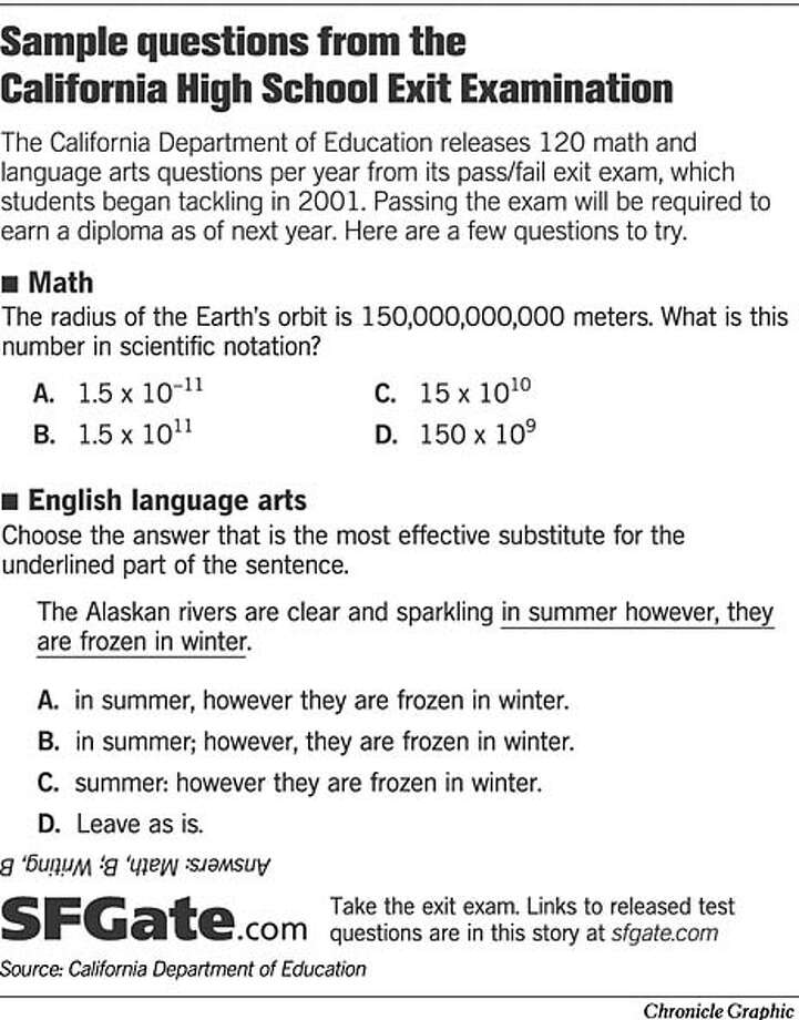 Sample Questions from the California High School Exit Exam. Chronicle Graphic