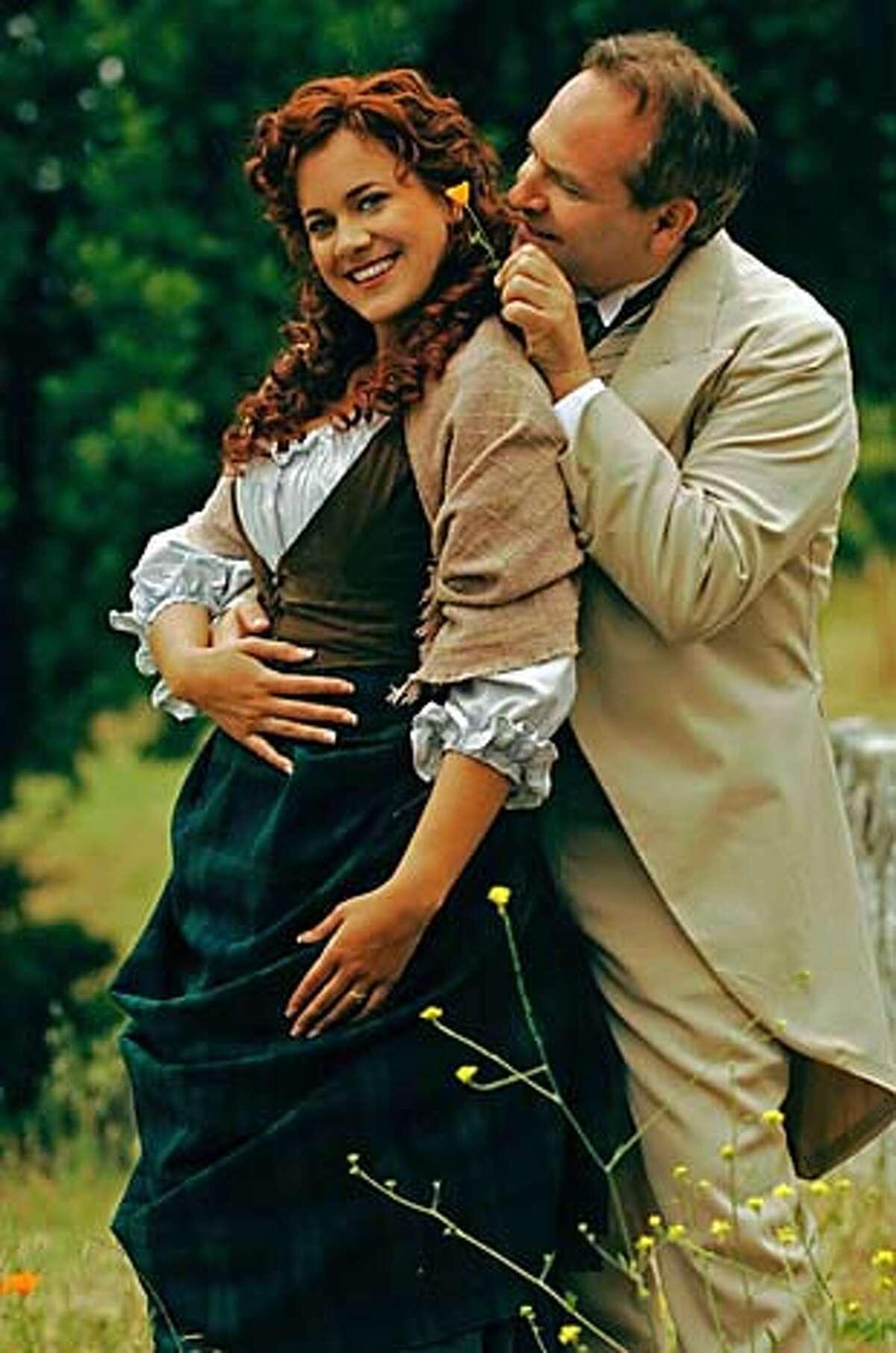 Elise Youssef and Eric Siegel in Shakespeare Santa Cruz's 2005 production of Engaged. Photo: Steve DiBartolomeo 2340