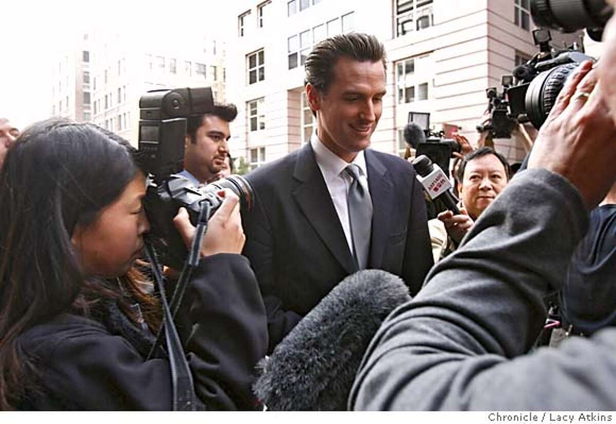 Mayor Gavin Newsom makes his way through the media to attend a press conference, Tuesday Feb. 6, 2007 at the Academy of Arts College, in San Francisco, CA.(Lacy Atkins/San Francisco Chronicle) 39879