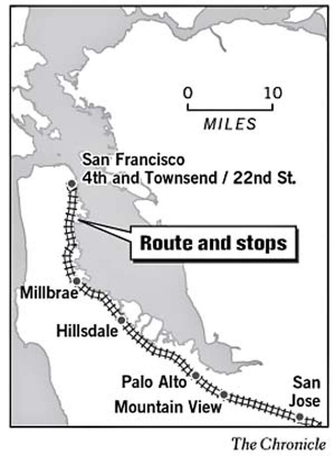 More Baby Bullets -- CalTrain is launching 10 new Baby Bullet trains to improve commute times to and from the Peninsula. Chronicle Graphic