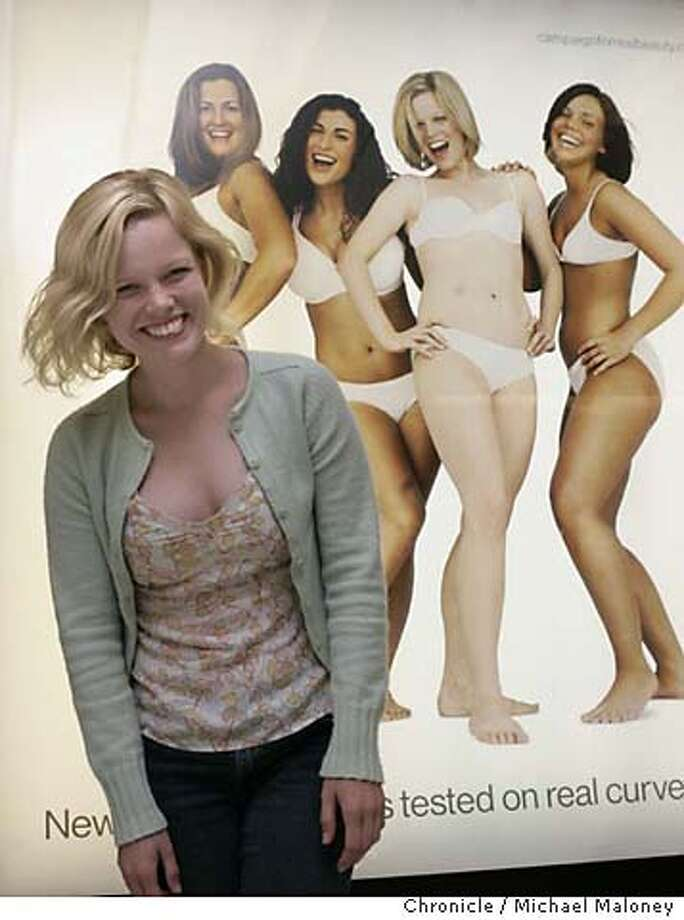 Sigrid Sutter, one of the women currently posing in her white underwear on billboards all over town for the DOVE real woman campaign lives and works here in SF. She poses in front of a billboard in the Powell Street BART station.  Photo by Michael Maloney / San Francisco Chronicle Photo: Michael Maloney