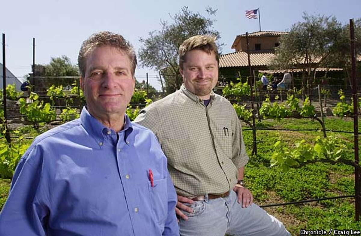 Photo of Viansa winery owner Sam Sebastiani (left) and winemaker Derek Irwin (right) at their winery in Sonoma. Photo by Craig Lee/San Francisco Chronicle