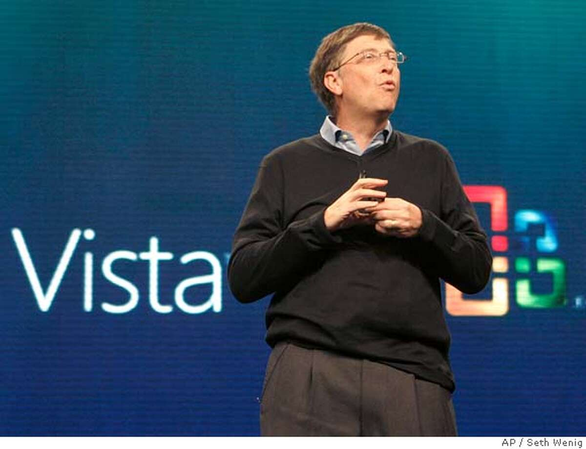 �Bill Gates, chairman of Microsoft Corp., introduces the Windows Vista operating software, Monday, Jan. 29, 2007, in New York. The software goes on sale Tuesday. (AP Photo/Seth Wenig)