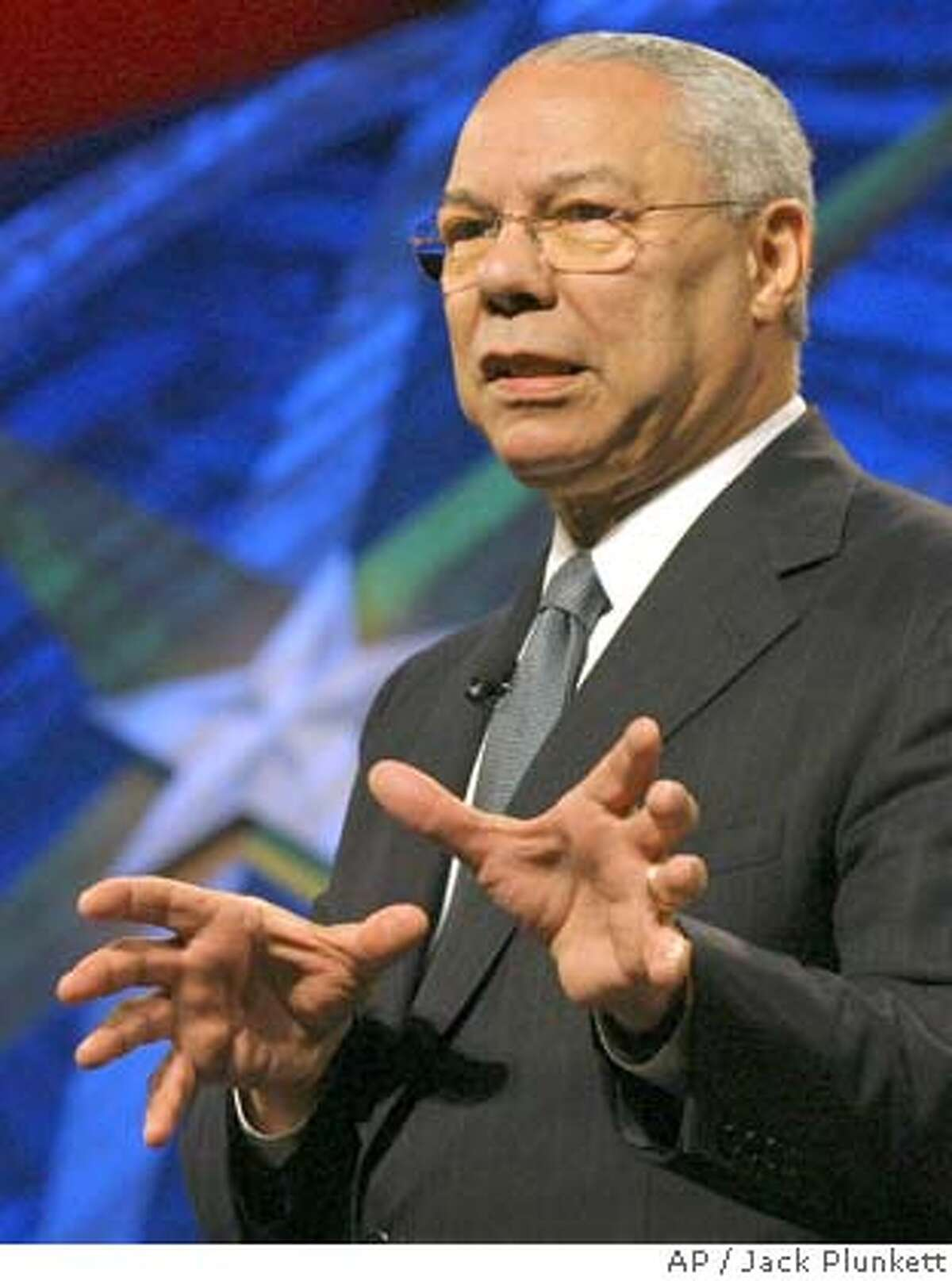 ** FILE ** Former Secretary of State Colin Powell speaks at the World Congress of Information Technology in Austin, Texas in this May 5, 2006 file photo. Four years after President Bush's State of the Union speech touched off a stormy debate over the threat posed by Iraq, former White House aide I. Lewis