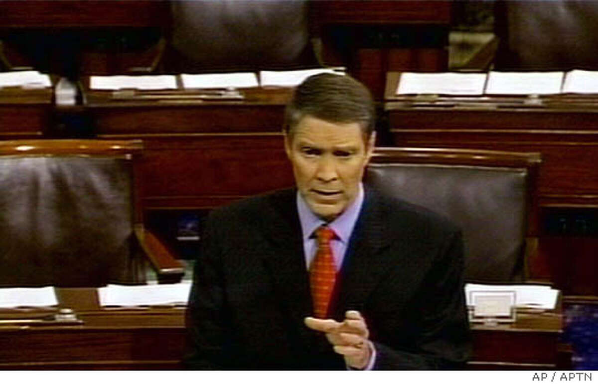 In this image from video, Senate Majority Leader Bill Frist speaks from the floor of the Senate Friday, July 29, 2005, in Washington in support of legislation to remove some of the current administration's limitations on embryonic stem cell research. Frist, an abortion opponent who just last month said he did not support expanding federal financing of research on embryos, said his decision was consistent with both his experience as a physician and his anti-abortion stance. (AP Photo/APTN)