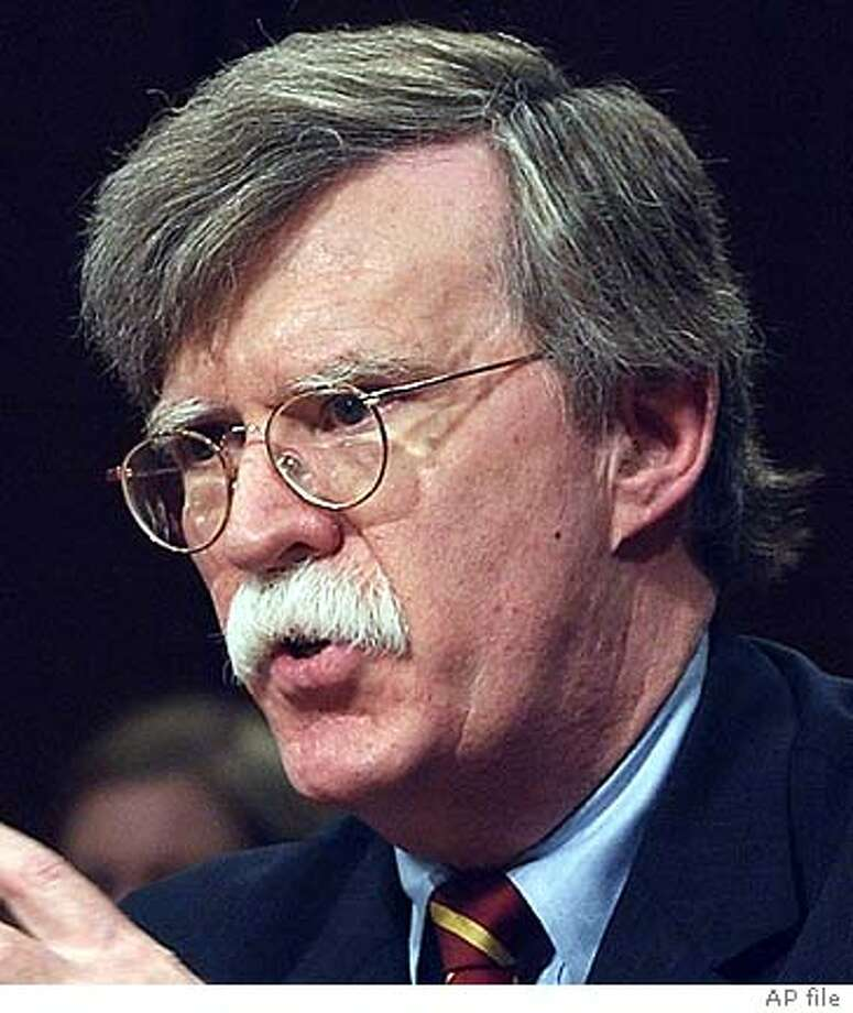 ** FILE ** John Bolton appears before the Senate Foreign Relations Committee on Capitol Hill Monday, April 11, 2005, on his nomination to be ambassador to the United Nations. President Bush intends to announce next week that he is going around Congress to install embattled nominee John Bolton as the U.S. ambassador to the United Nations, senior administration officials said Friday, July 29, 2005. (AP Photo/Dennis Cook) Photo: DENNIS COOK