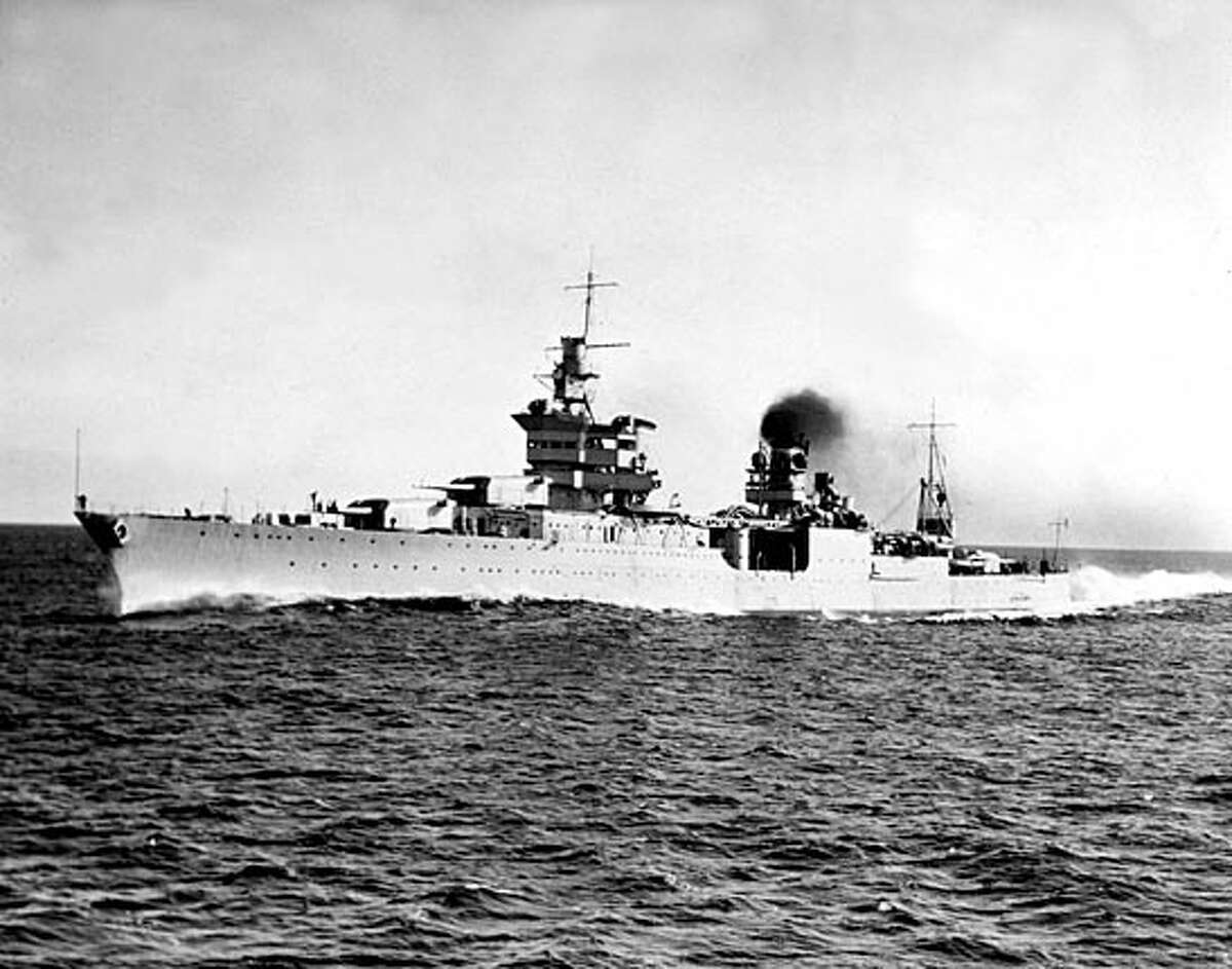 The USS Indianapolis sails off Rockland, Maine on its first trial run over the Naval Mesured trial course.