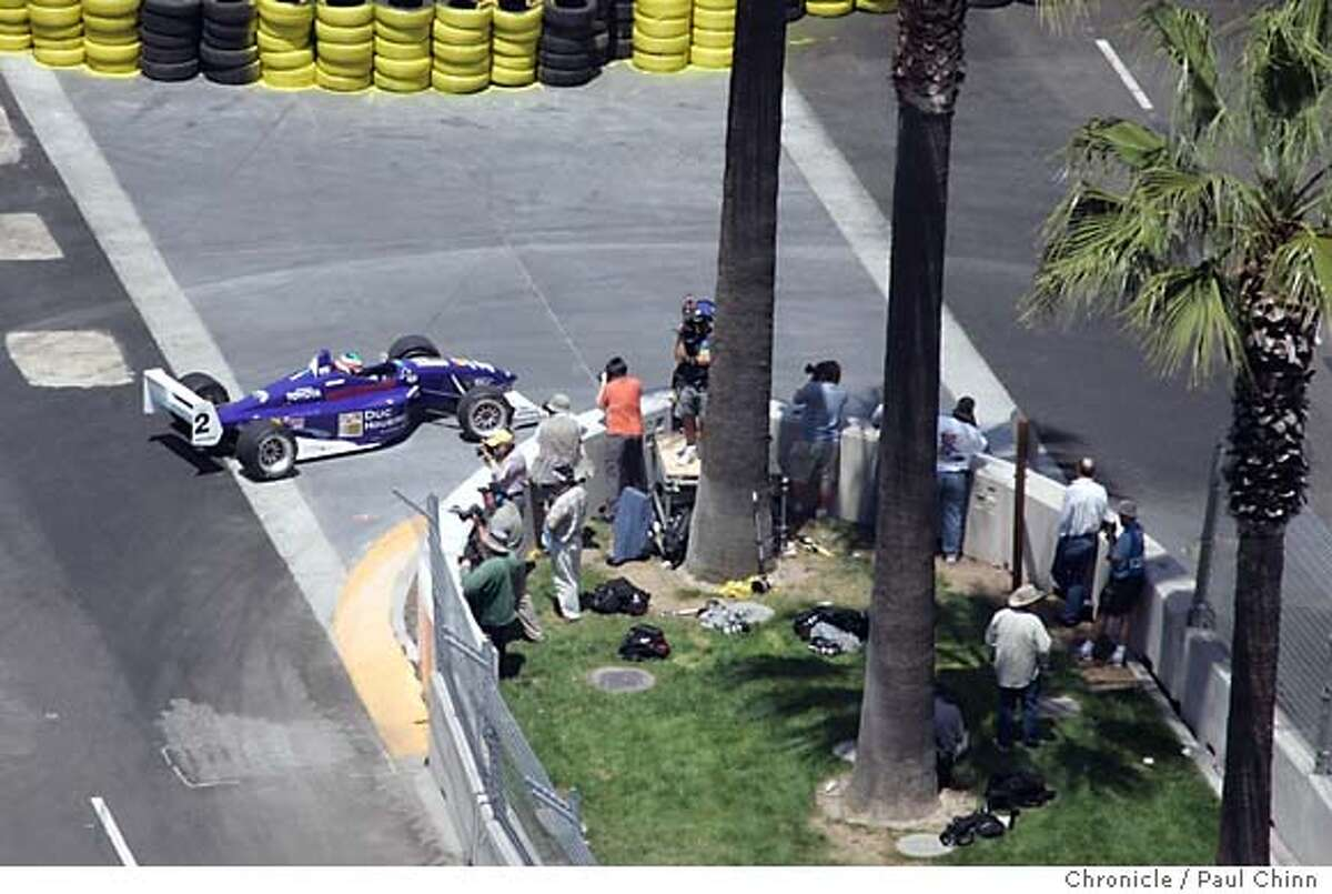 Ryan Spencer-Smith negotiates the hairpin at Turn 3 during a practice session for the Atlantic Championship preliminary race as seen from the roof of Adobe Systems' headquarters building. Practice and qualifying sessions for the inaugural San Jose Grand Prix Champ Car racing series on 7/29/05 in San Jose, Calif. PAUL CHINN/The Chronicle