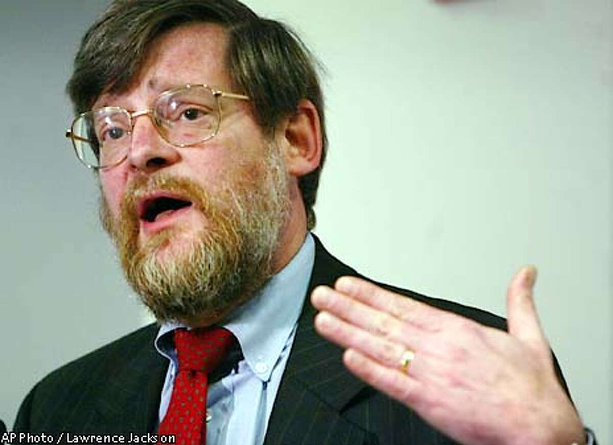 Howard Beales, Director of FTC Bureau of Consumer Protection, addresses the media Wednesday, April 30, 2003, in Washington.The Federal Trade Commission and 29 state Attorneys General have launched a law enforcement crackdown targeting Internet auction scams.(AP Photo / Lawrence Jackson)