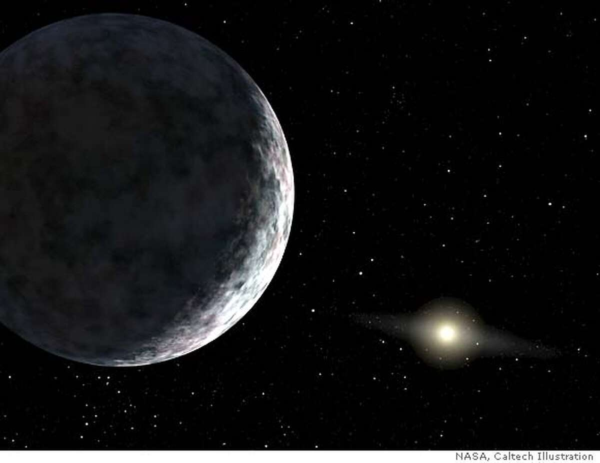 This artist's concept, released by NASA, shows the planet catalogued as 2003UB313 at the lonely outer fringes of our solar system. Our Sun can be seen in the distance. The new planet, which is yet to be formally named, is at least as big as Pluto and about three times farther away from the Sun than Pluto. It is very cold and dark. The planet was discovered by the Samuel Oschin Telescope at the Palomar Observatory near San Diego, Calif. (AP Photo/NASA, Caltech)