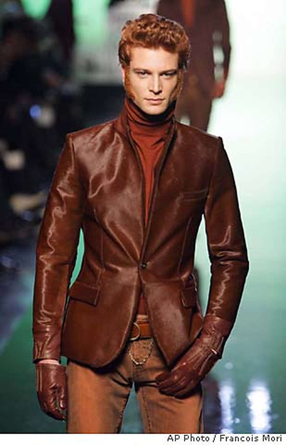 A model wears a creation by French fashion designer Jean Paul Gaultier for his autumn-winter 2007-2008 men's fashion collection presented in Paris, Monday, Jan. 29, 2007. (AP Photo/Francois Mori)