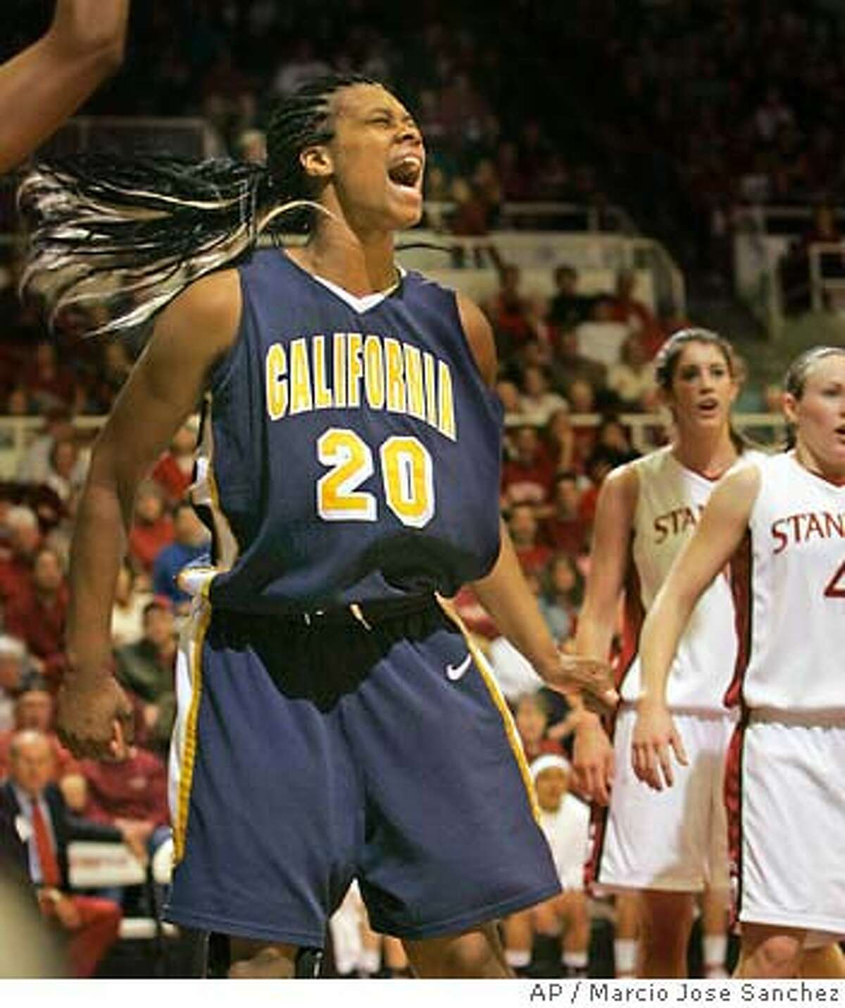 California's Devanei Hampton (20) celebrates after scoring against Stanford in the first half of a college basketball game in Stanford, Calif., Sunday, Feb. 4, 2007.(AP Photo/Marcio Jose Sanchez)