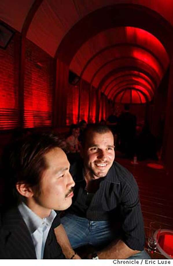 vessel04_0265_el.JPG  Funwoo Hwang and Phillippe Rieser, owners, with the underground original brick wall under Stockton Street off to the left. Vessel, the new lounge bar underground across from Campton Place Hotel. Photographer:  Eric Luse / The Chronicle names cq from source MANDATORY CREDIT FOR PHOTOG AND SF CHRONICLE/ -MAGS OUT Photo: Eric Luse