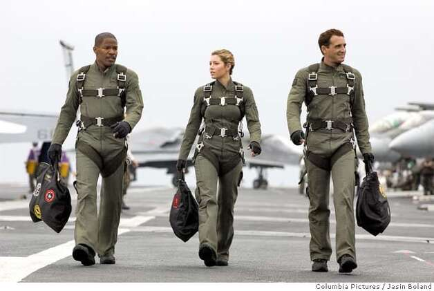 "In this photo provided by Columbia Pictures, (left to right) Jamie Foxx, Jessica Biel and Josh Lucas star in the epic action adventure ""Stealth."" (AP Photo/Columbia Pictures,Jasin Boland) Photo: JASIN BOLAND"
