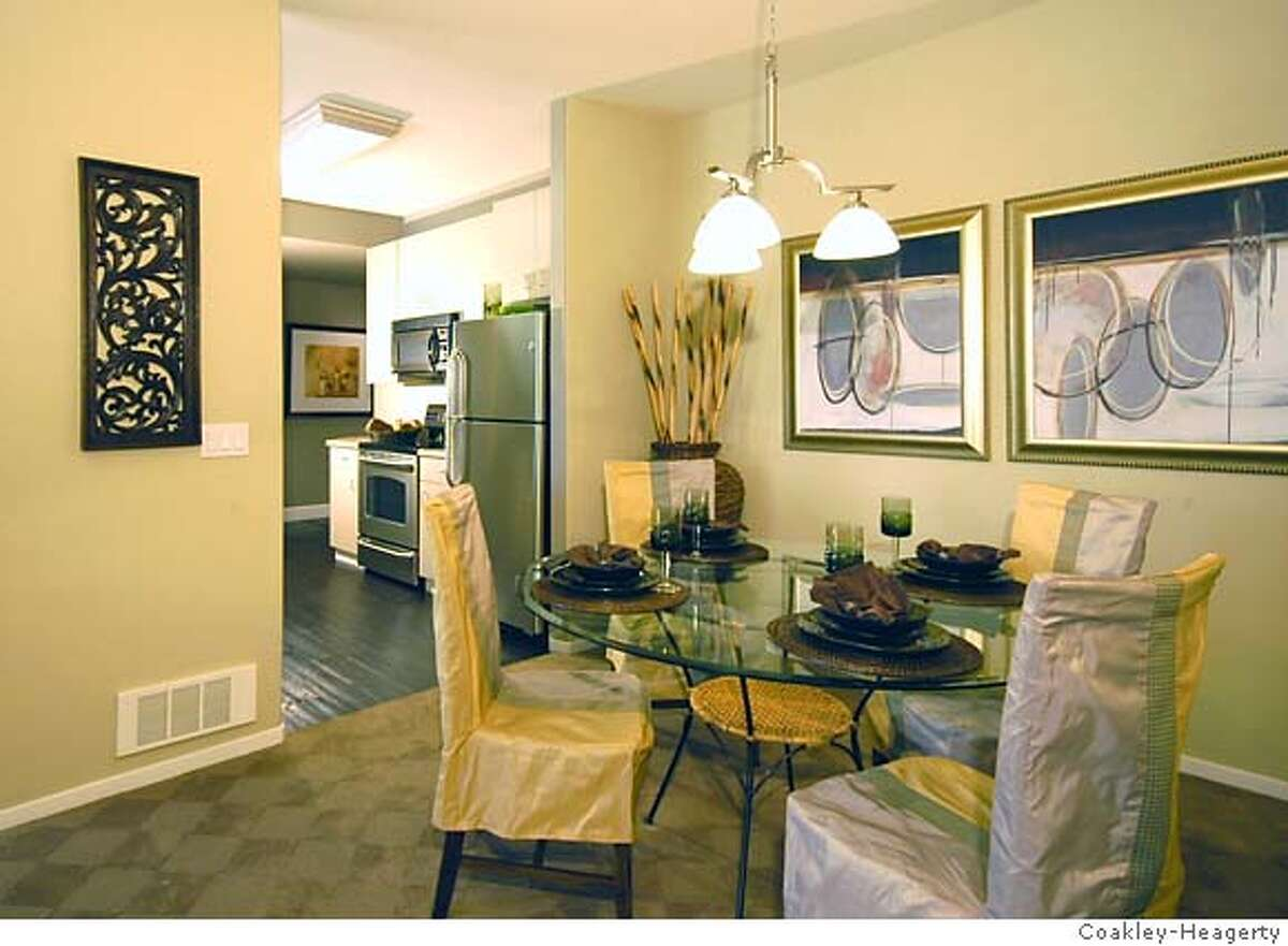Dining area at Montevista a condo conversion of 72 units in Union City. Priced from $354,000 to $454,000.