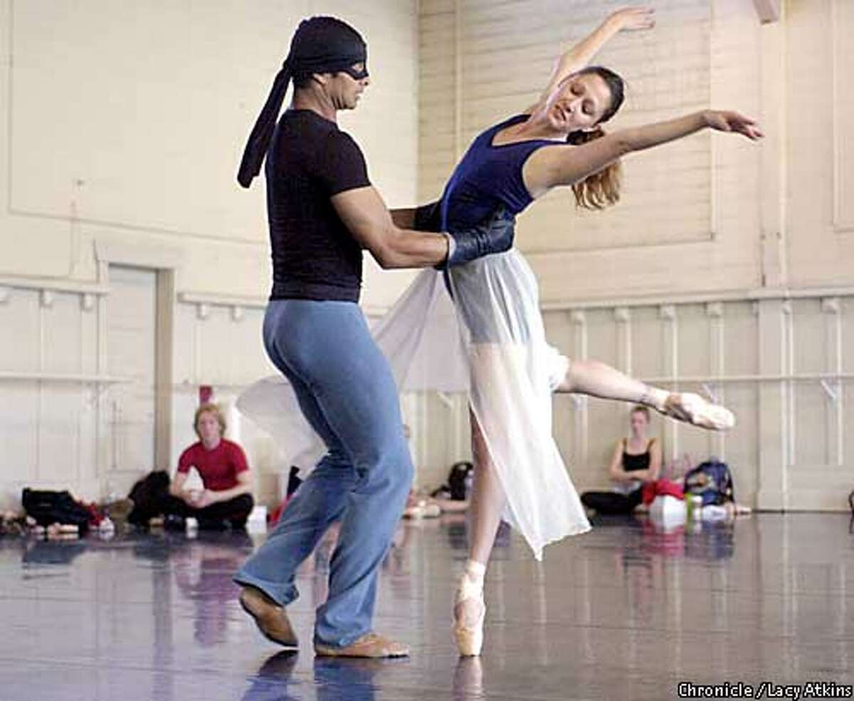 Rodolphe Cassand, Zorro dances with Claudia Alfiere, in Michael Smuin's ballet Zorro, which opens May 2, in San Francisco. SAN FRANCISCO CHRONICLE/LACY ATKINS